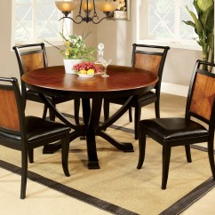 Round Kitchen Table And Chairs Set Batman Camping Chair Furniture Of America Loritha 5 Piece Two Tone Dining
