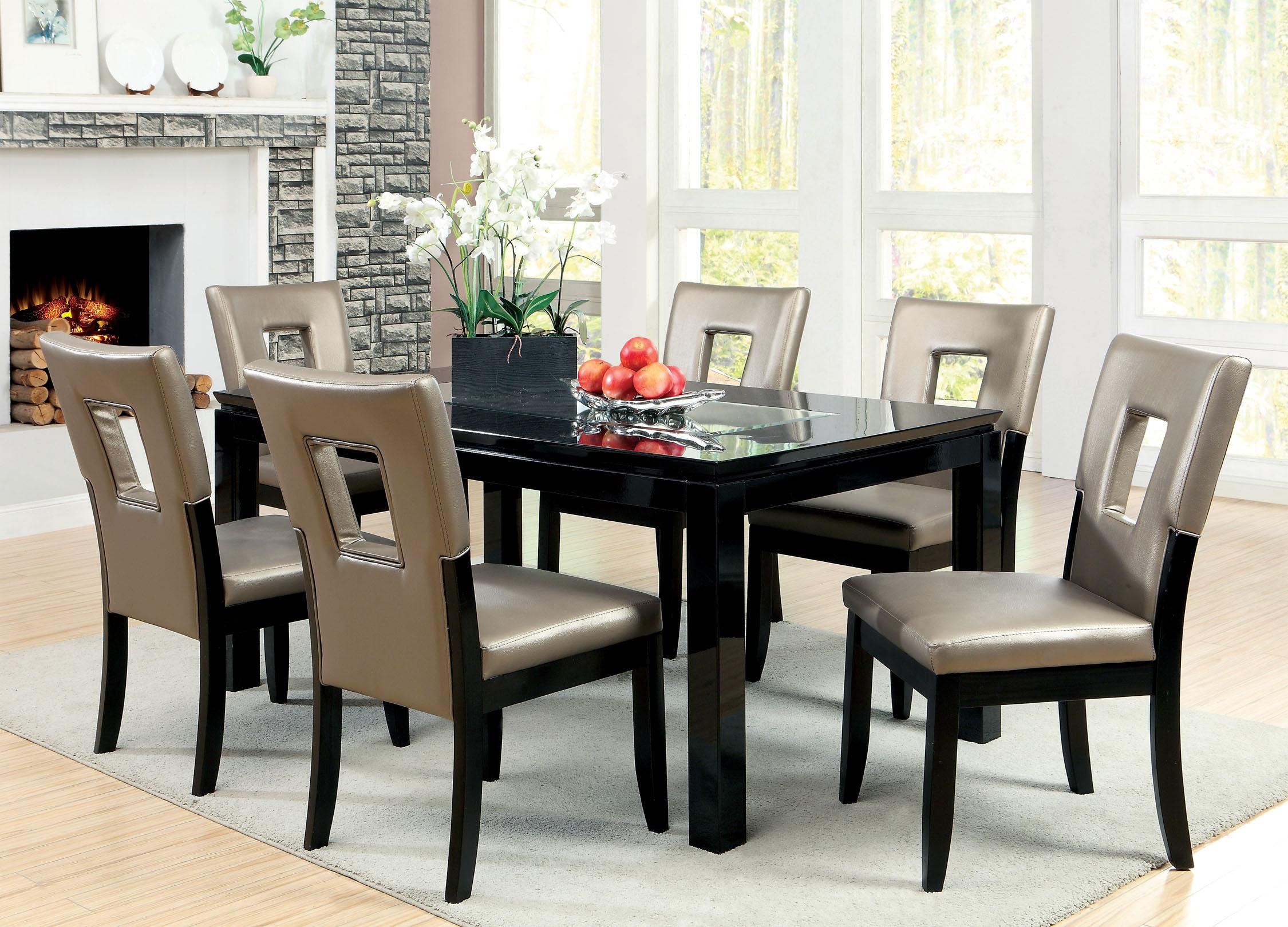 Furniture of America Marjesko 7Piece Black Glass Top