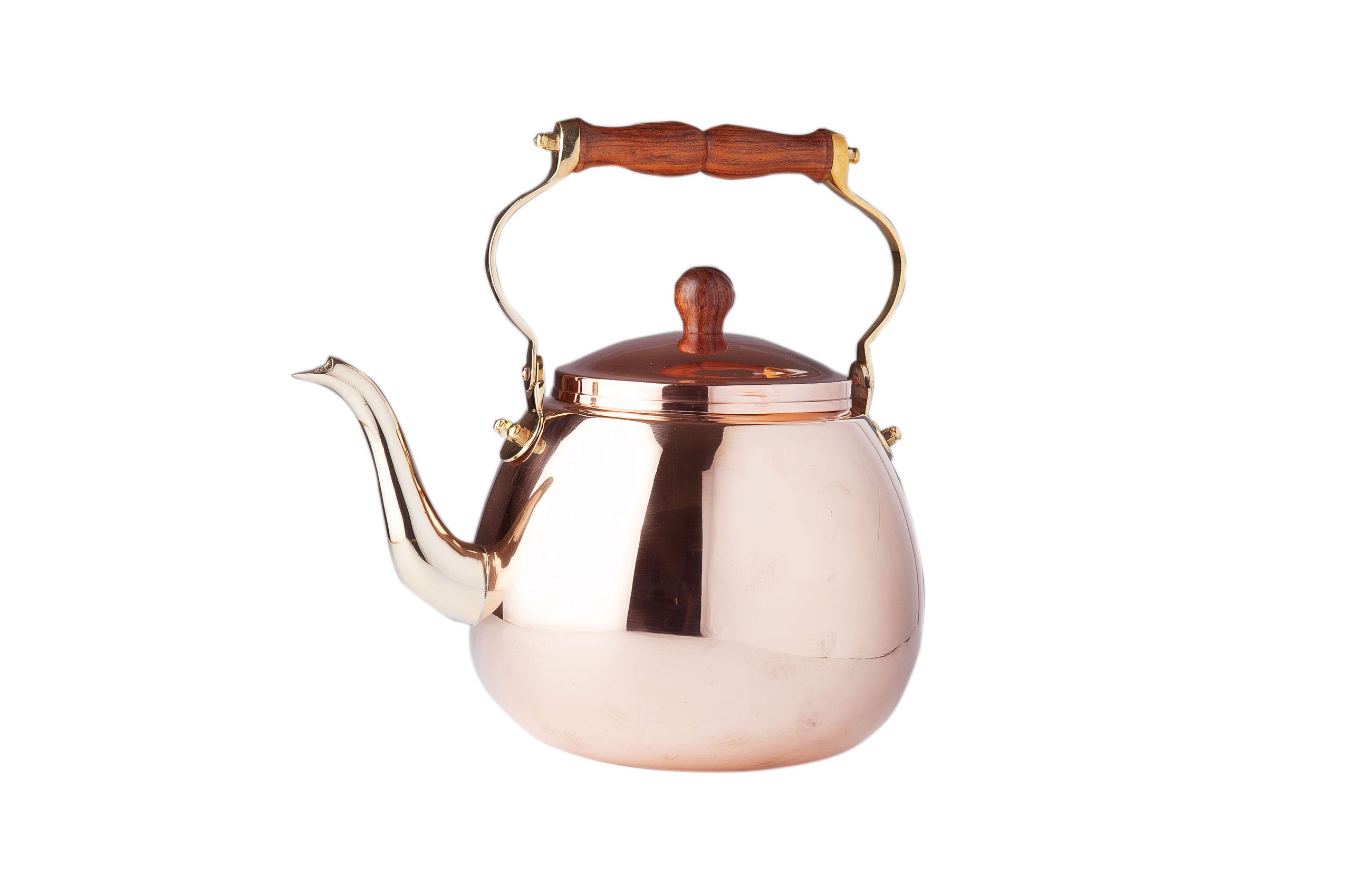 Dutch International Solid Copper Tea Kettle With Wood