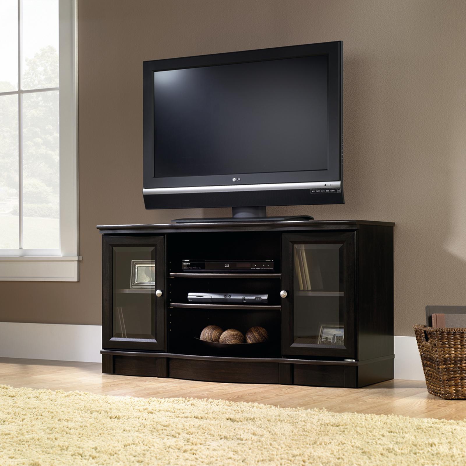 Sauder Black Regent Place Panel TV Stand