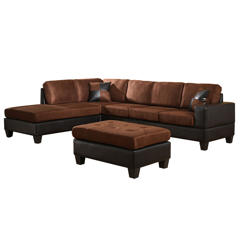 3 sided sectional sofa turquoise corner bed venetian worldwide dallin and ottoman