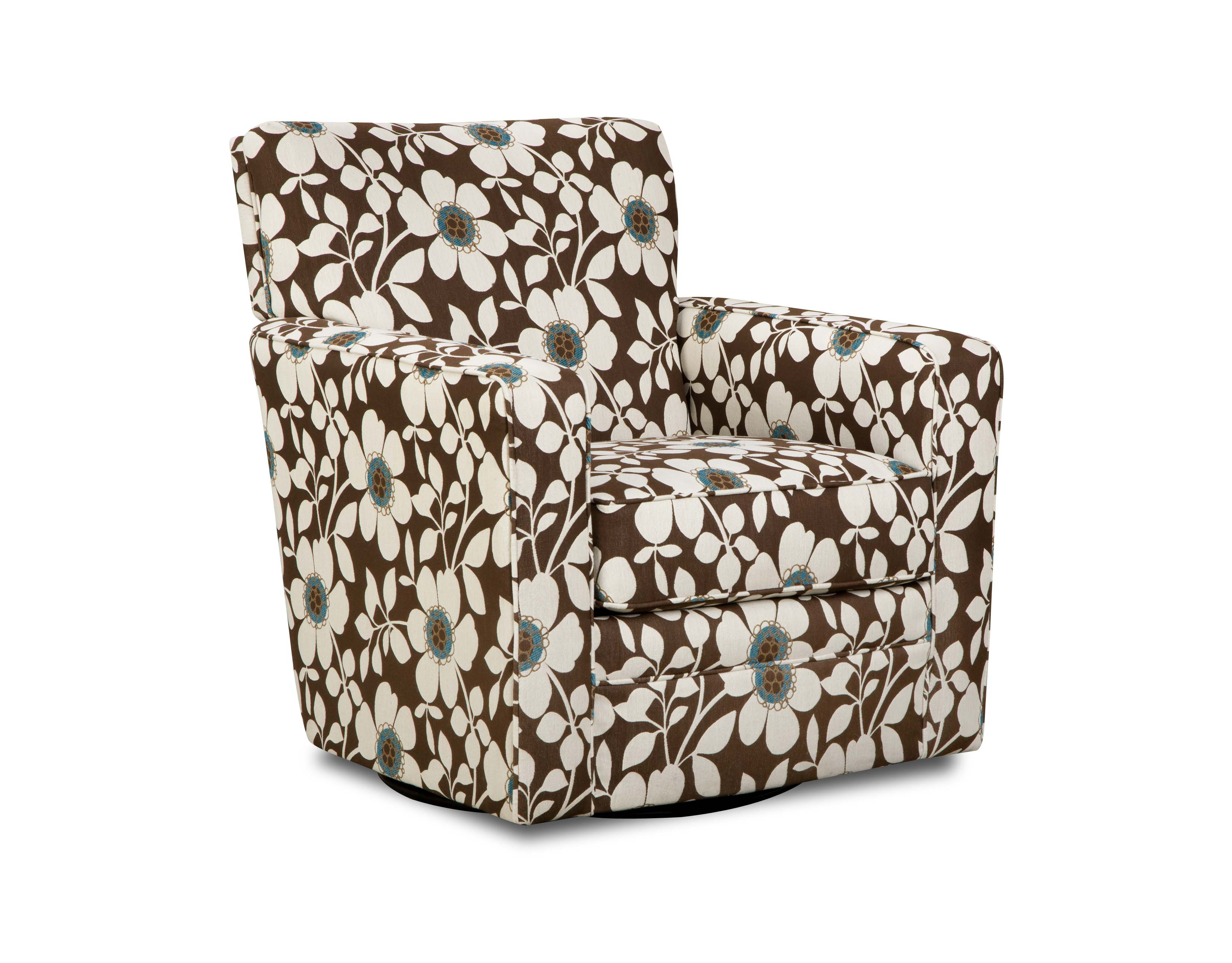 Sears Accent Chairs Simmons Brown And White Floral Chicklet Swivel Chair
