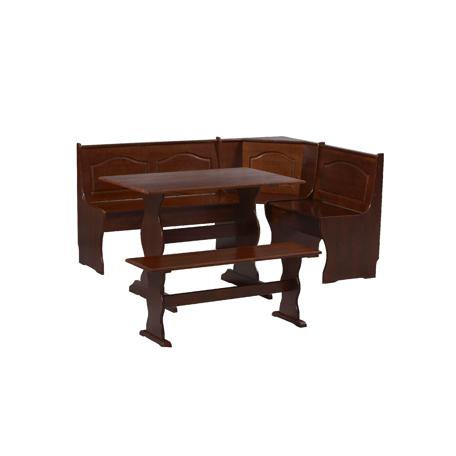 Essential Home 3 Piece Walnut Emily Breakfast Nook