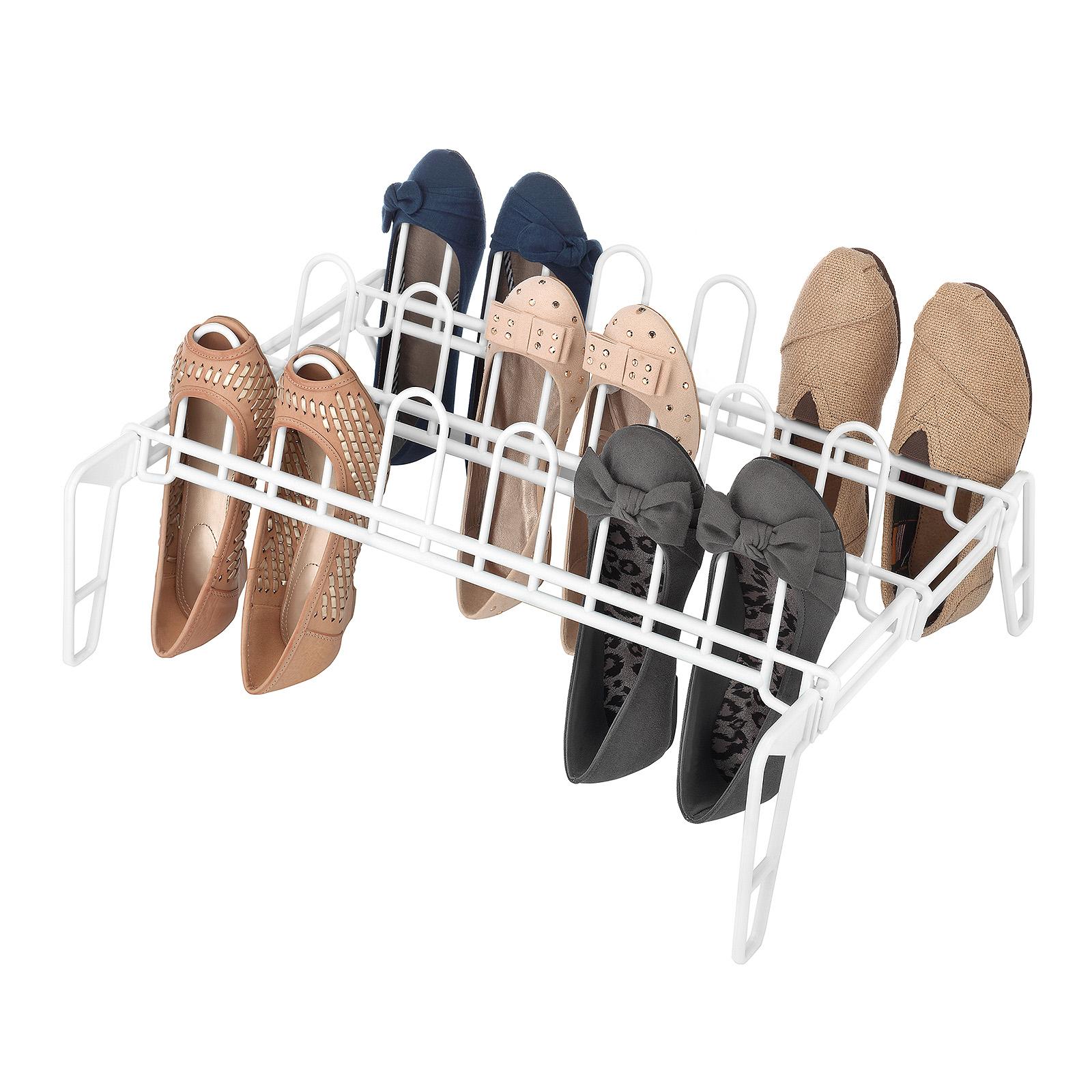 Essential Home White Floor Shoe Rack  9 Pair