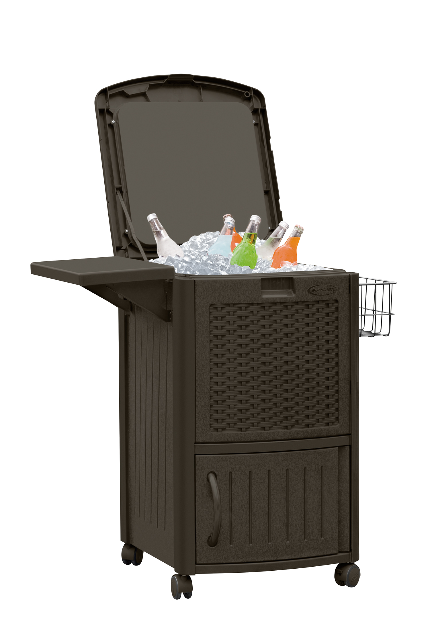 Suncast Resin Wicker Cooler With Cabinet - Outdoor Living