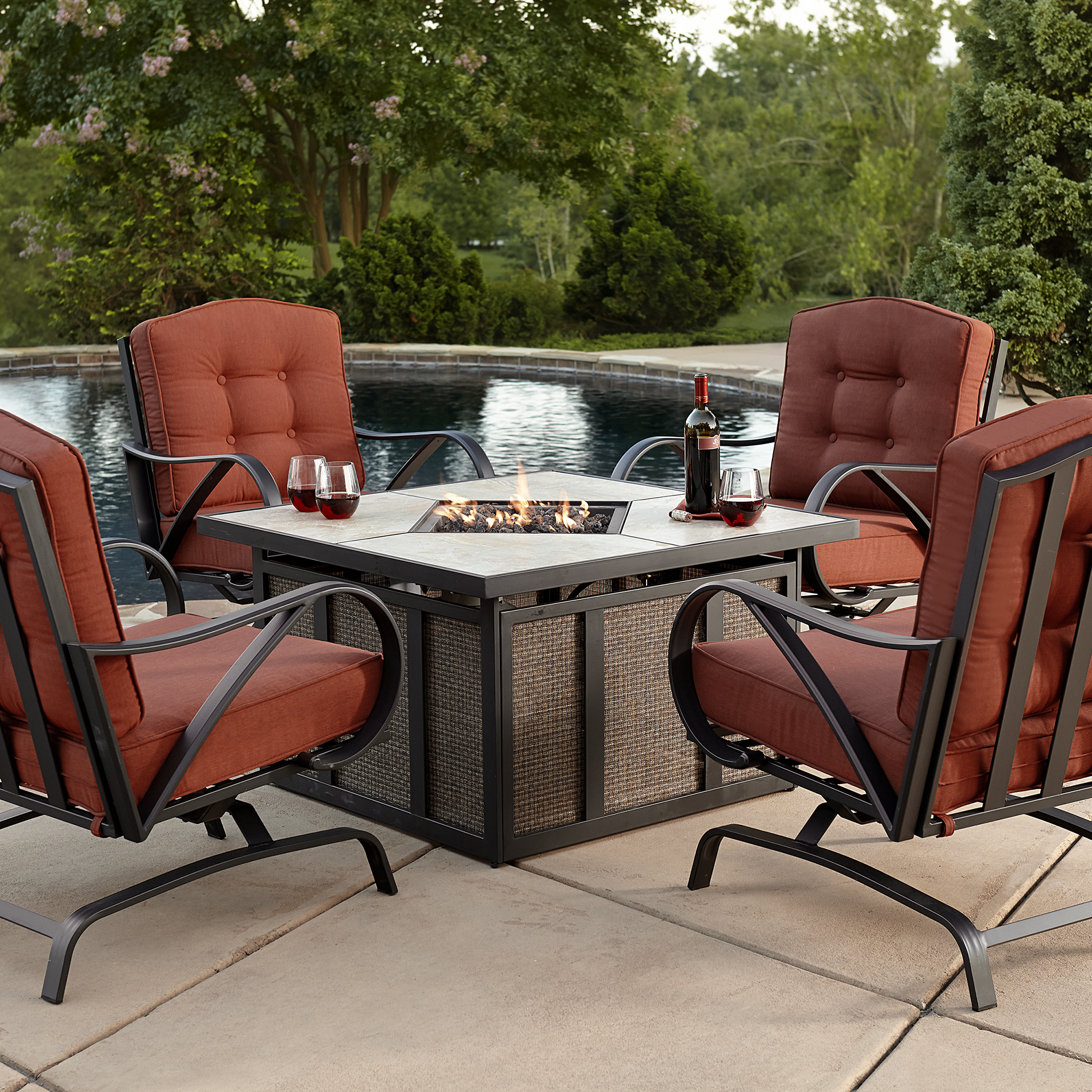 Firepit Chairs Grand Resort Oak Hill 5pc Cushion Firepit Chat Set