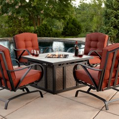 Fire Pit And Chair Set Reclining Desk Grand Resort Oak Hill 5pc Cushion Firepit Chat