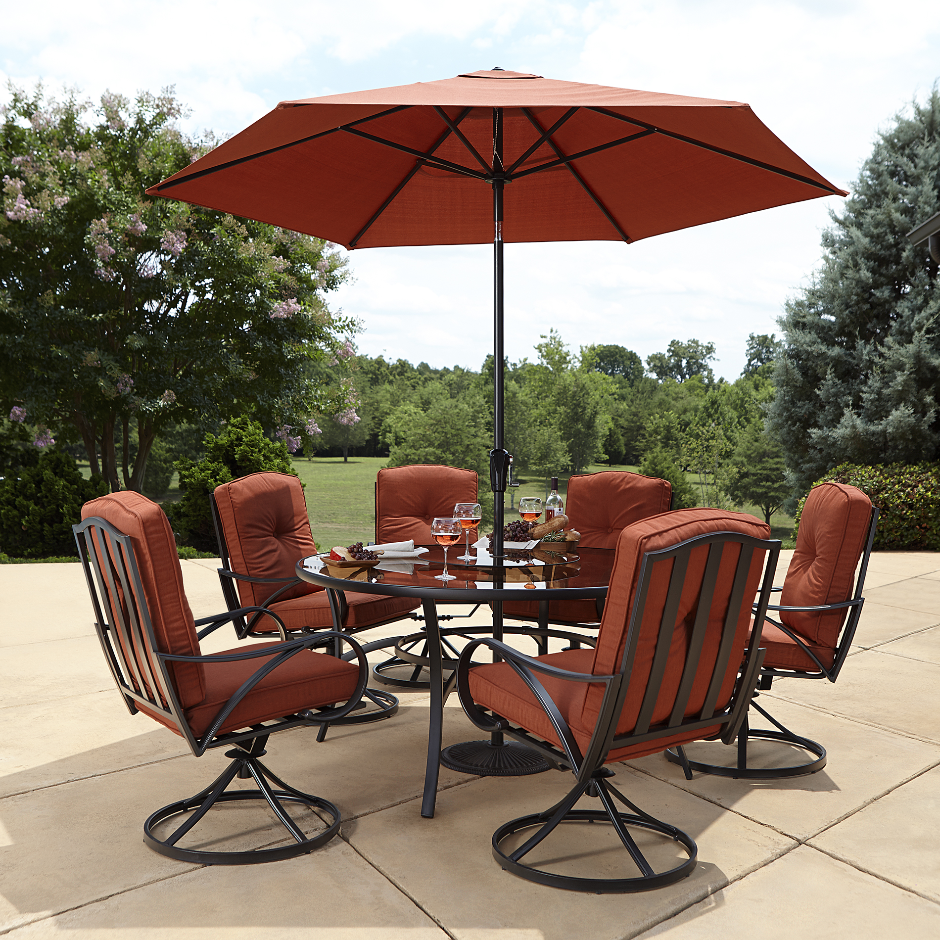 Grand Resort Oak Hill Lazy Susan Outdoor Set In Red - Sears