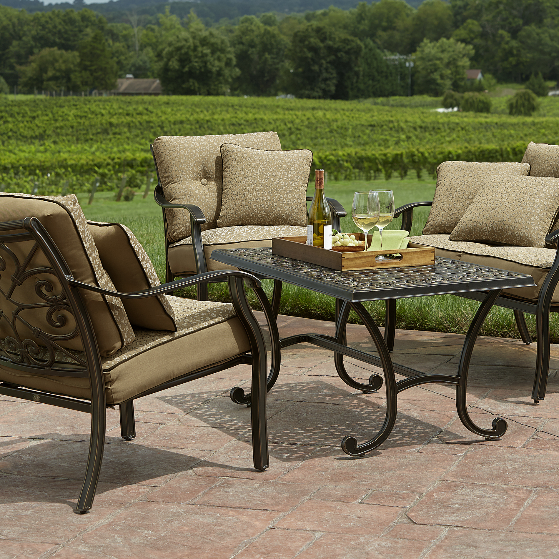 outsunny 4pc rattan wicker outdoor patio furniture sofa set reclining chaise casual chairs: find seating at sears