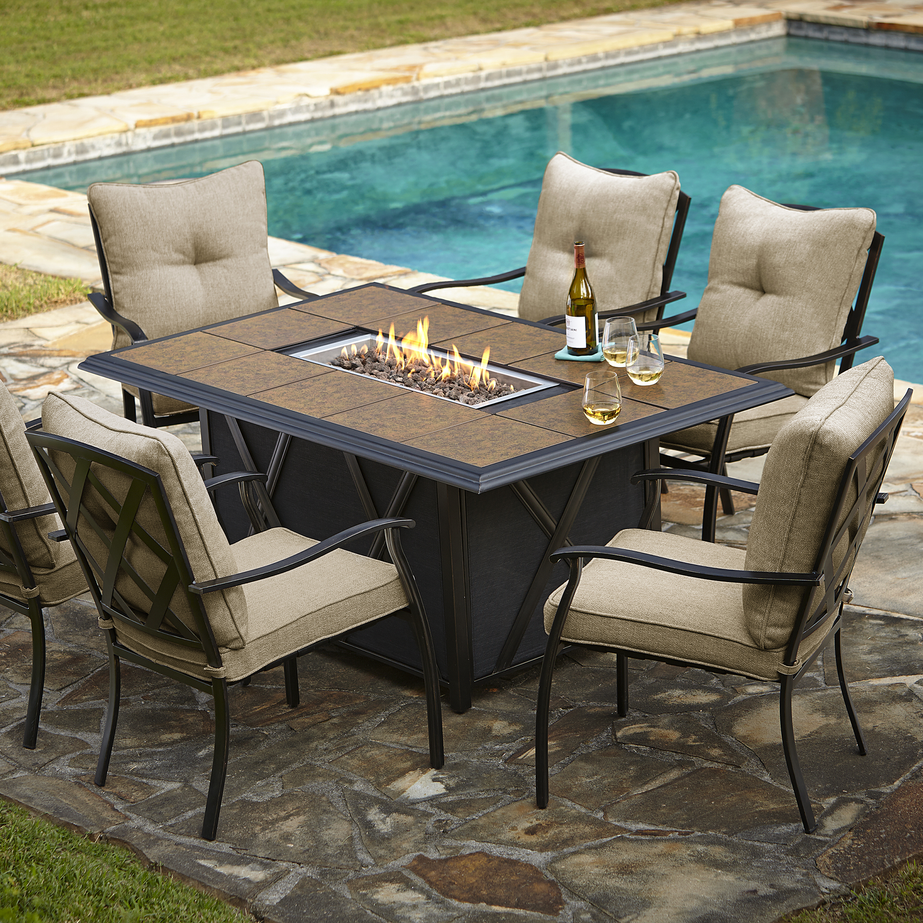 Fire Pit Table And Chairs Set Patio Dining Sets With Fire Pits Photos Pixelmari
