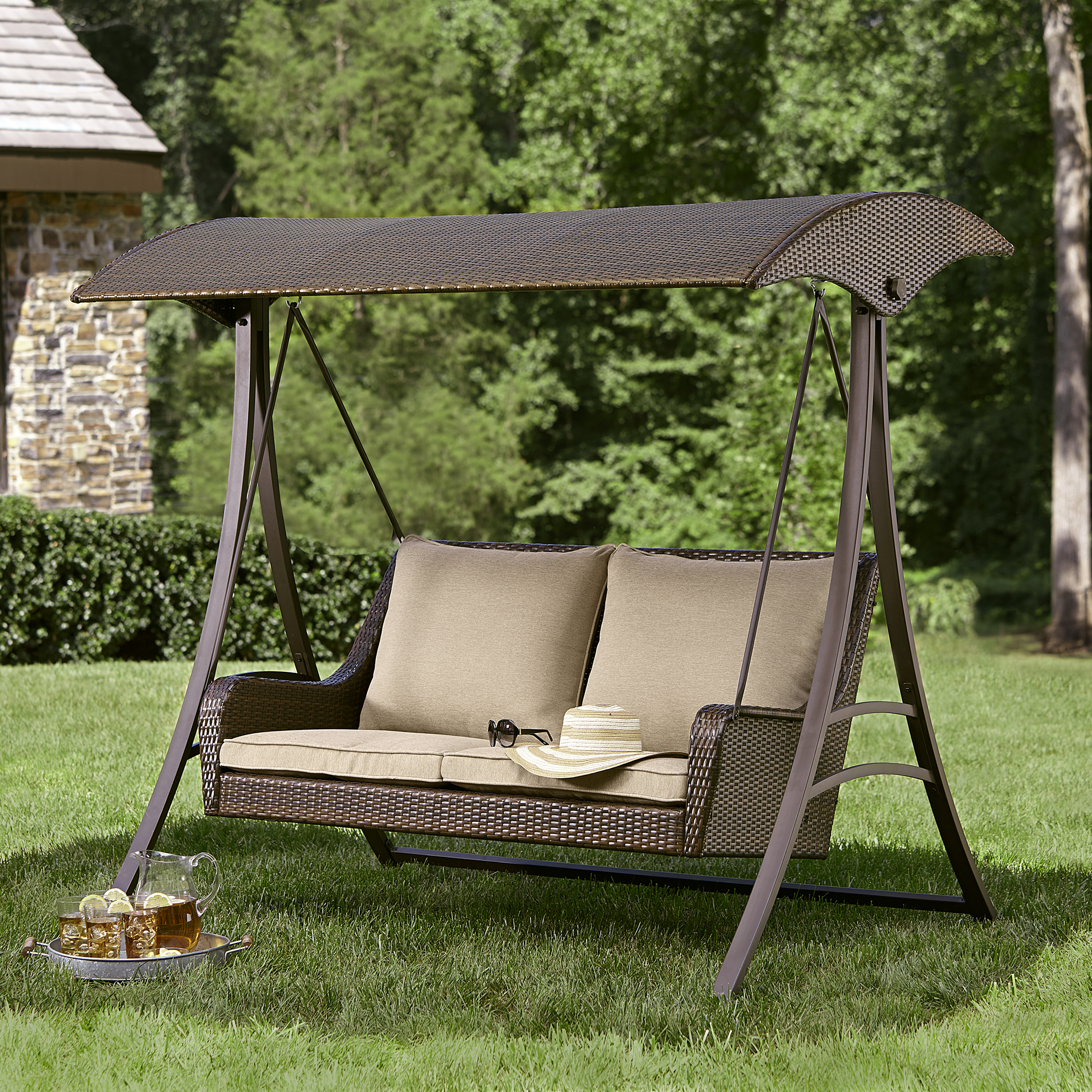 swing chair outdoor stackable resin chairs canada ty pennington style parkside wicker limited