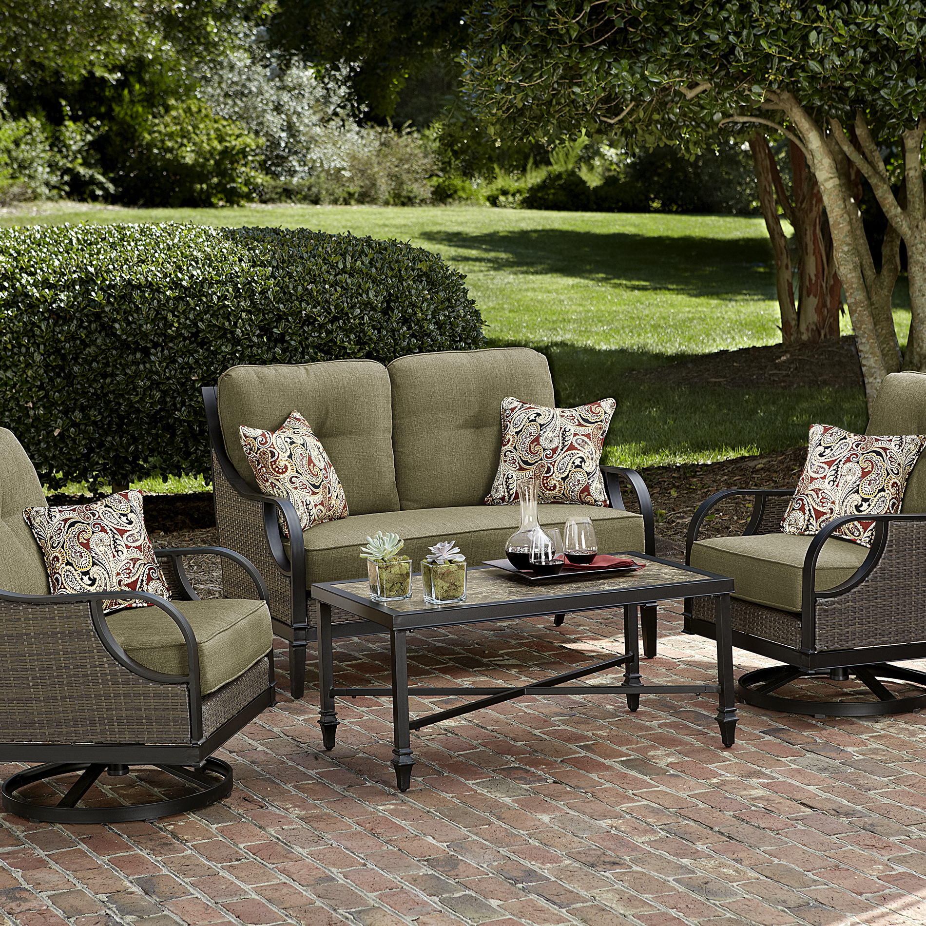 La Z Boy Outdoor Seating Set 4 Piece Green Charlotte