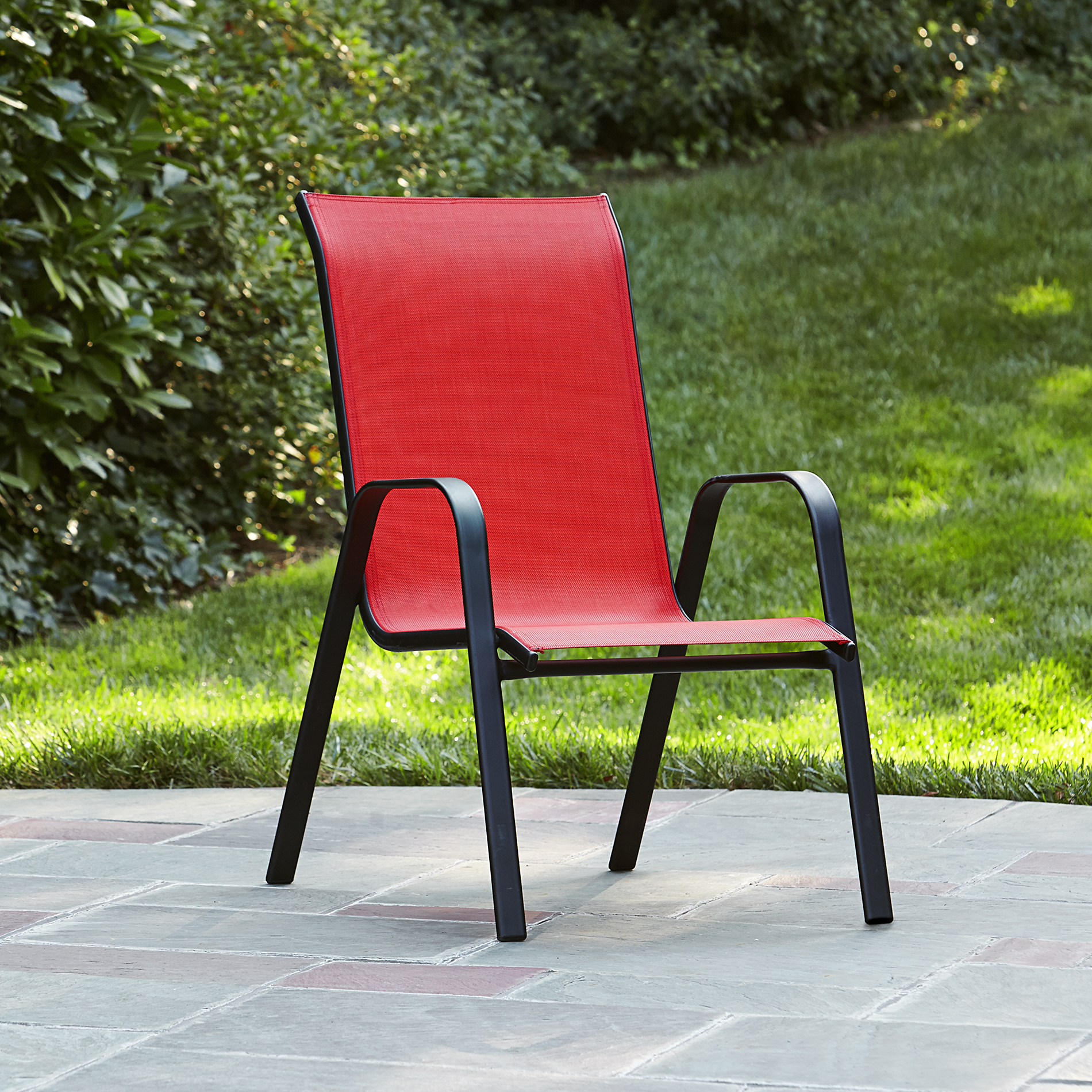 Stackable Lawn Chairs Essential Garden Bartlett Solid Red Stack Chair Kmart