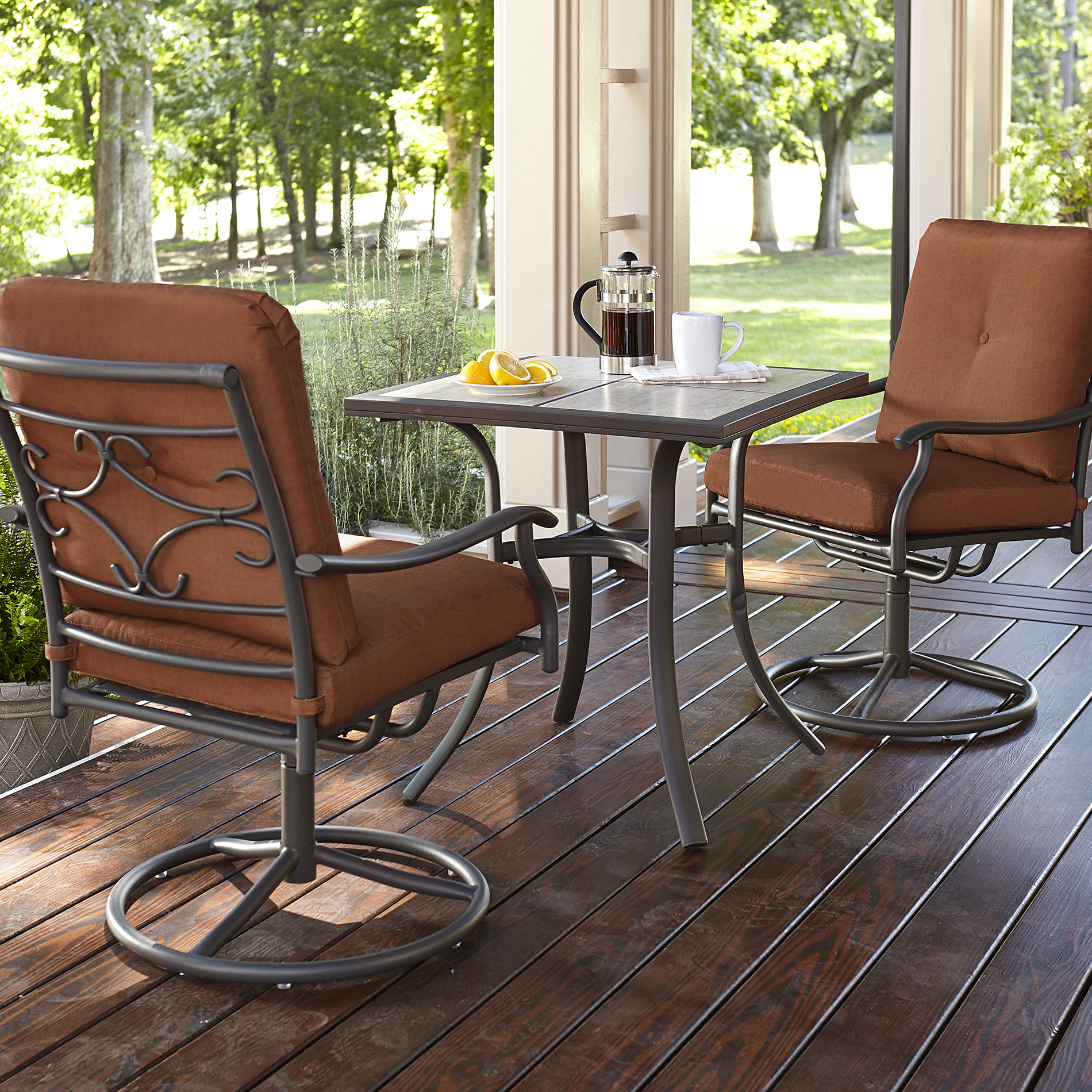 bistro table and chairs kmart rolling shower chair commode jaclyn smith clermont 3 piece set rust limited