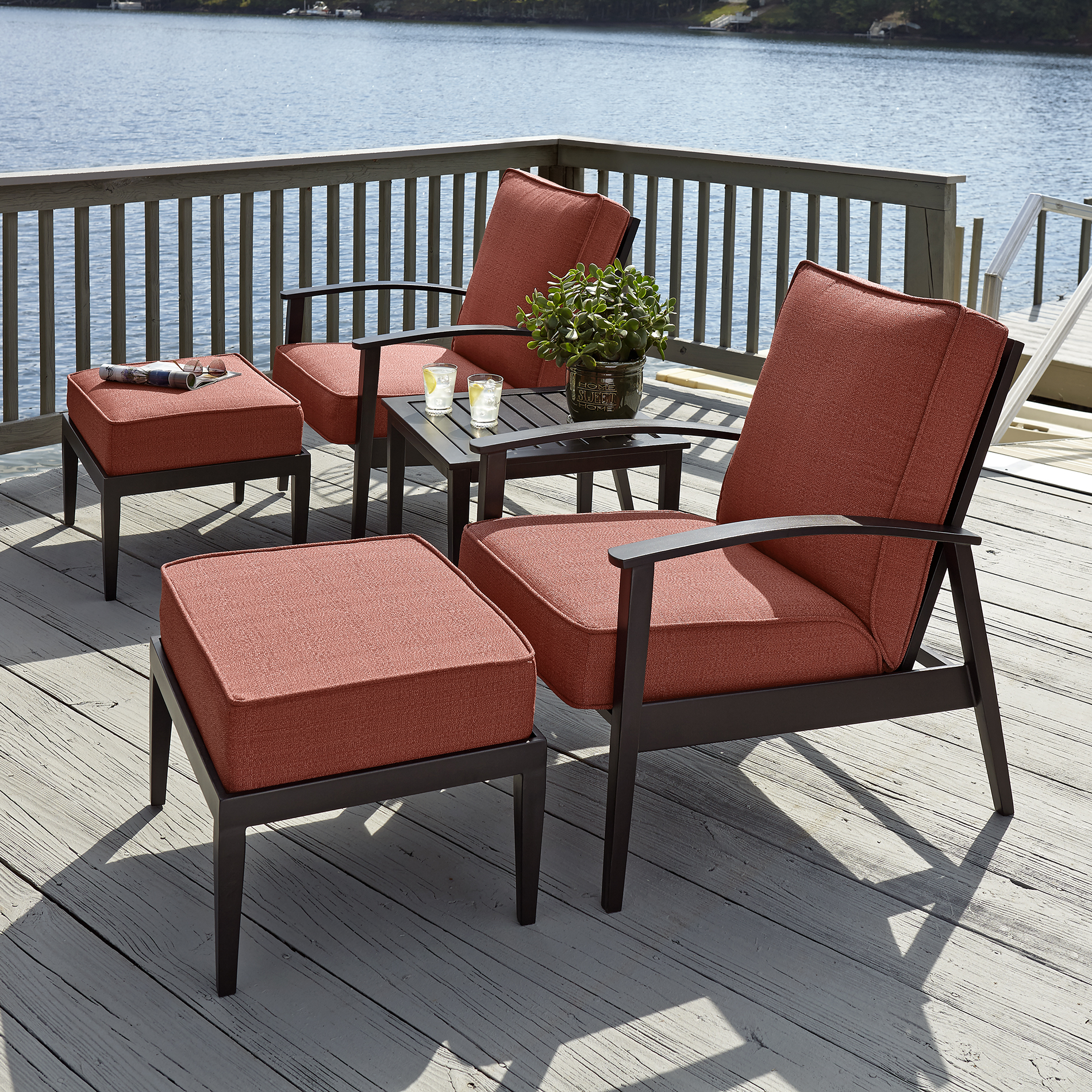 Grand Harbor Lakewood 5 Piece Seating Set- Red Limited