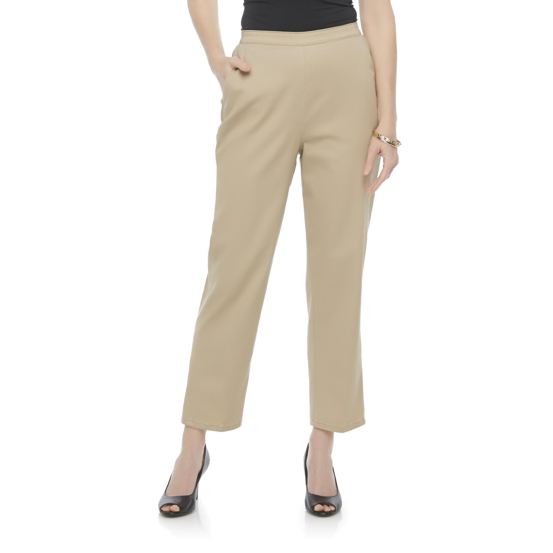 Laura Scott Women' Comfort Waist Cropped Khaki Pants