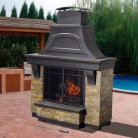 Sunjoy Nutmeg Wood Burning Fireplace - Outdoor Living ...