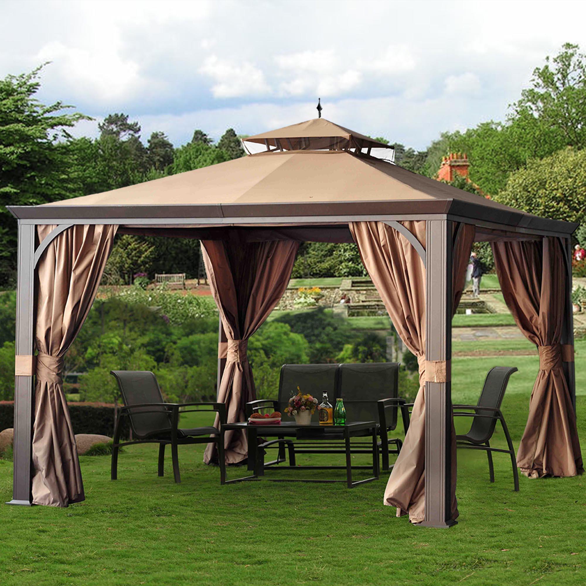 Sunjoy Montgomery 10' X 12' Gazebo - Outdoor Living Gazebos Canopies & Pergolas