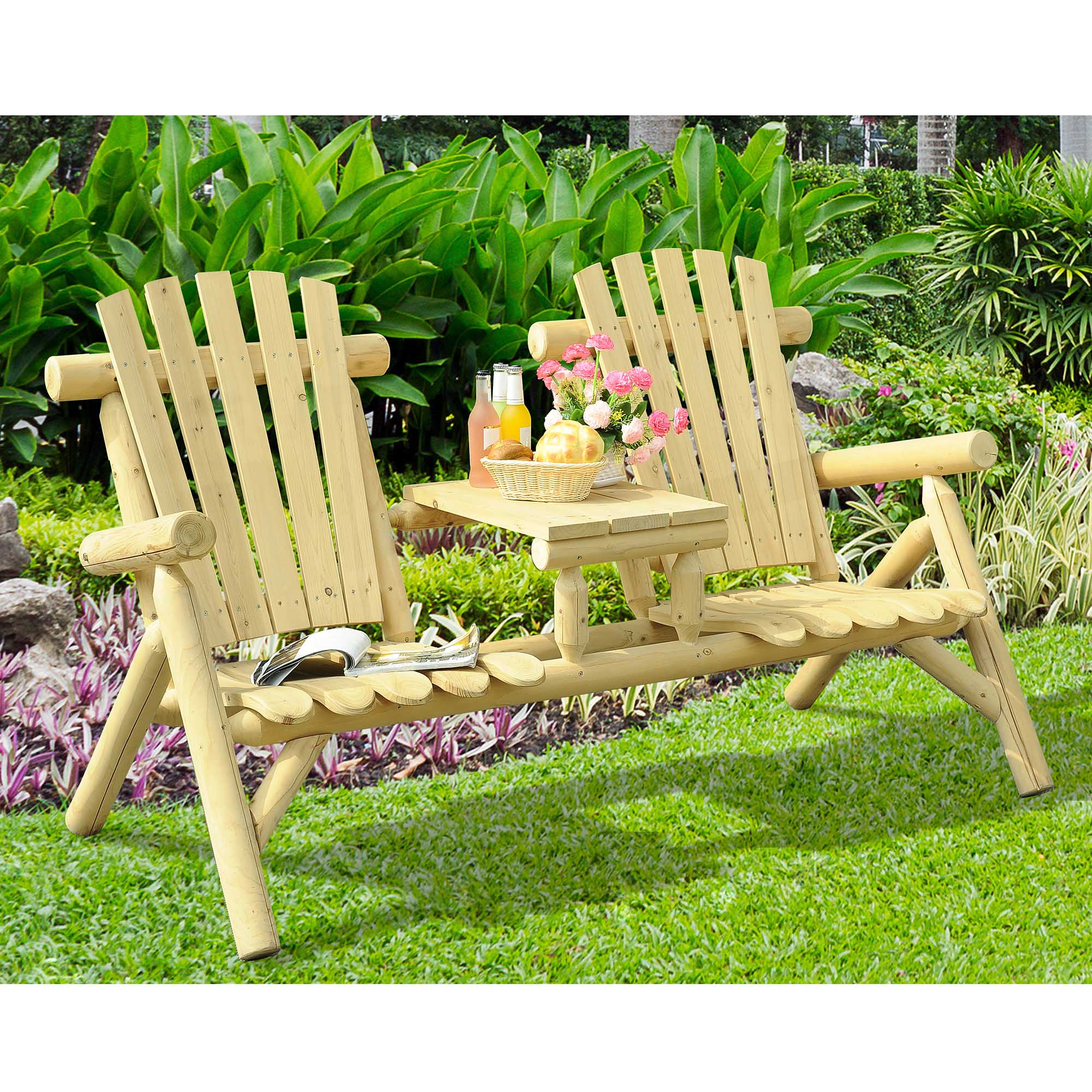 tete a chair outdoor back support sunjoy arcadia wood patio