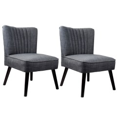Gray Accent Chairs Set Of 2 Desk Chair Upholstered Corliving Antonio In Woven Grey