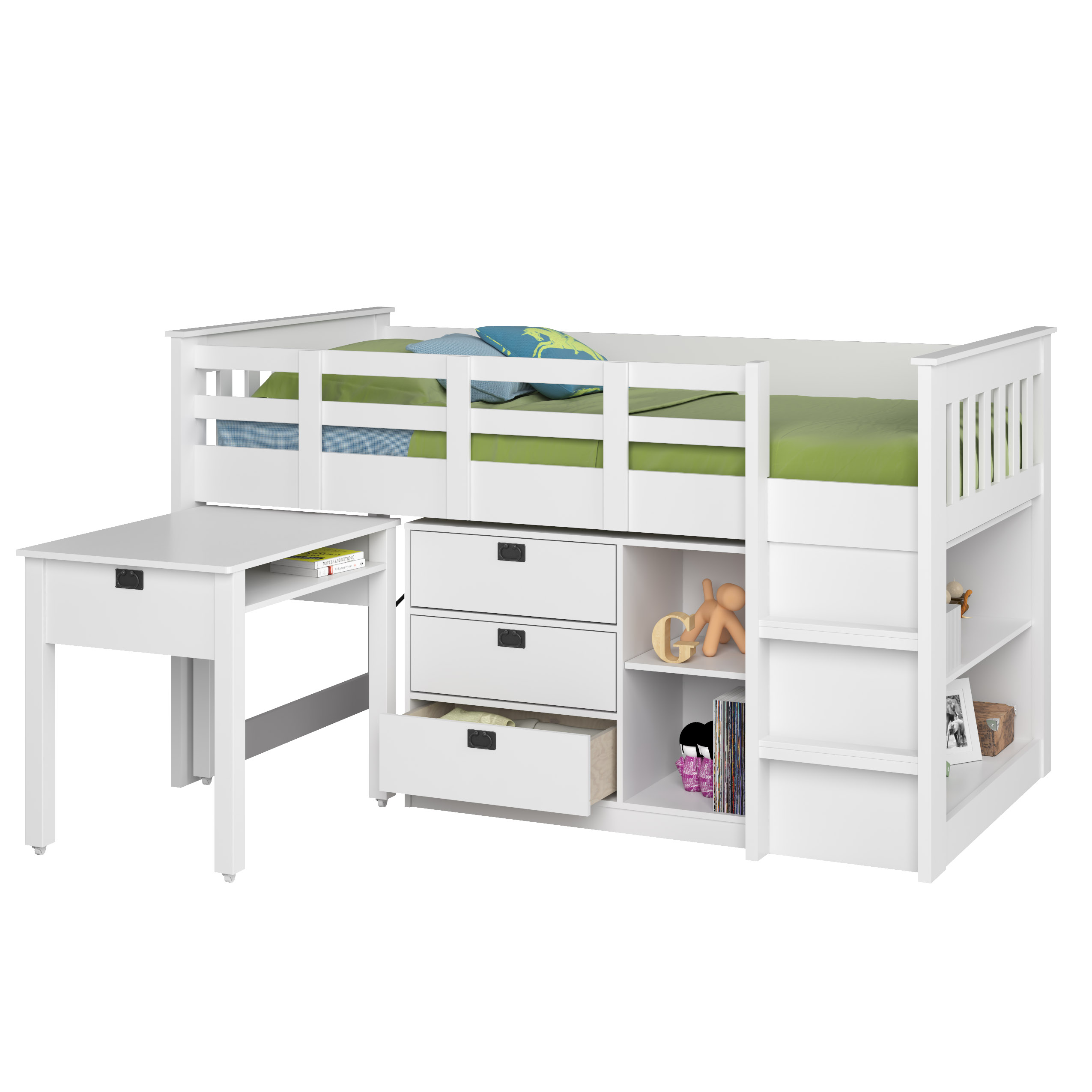 Corliving Madison Single Twin Loft Bed With Desk And Storage