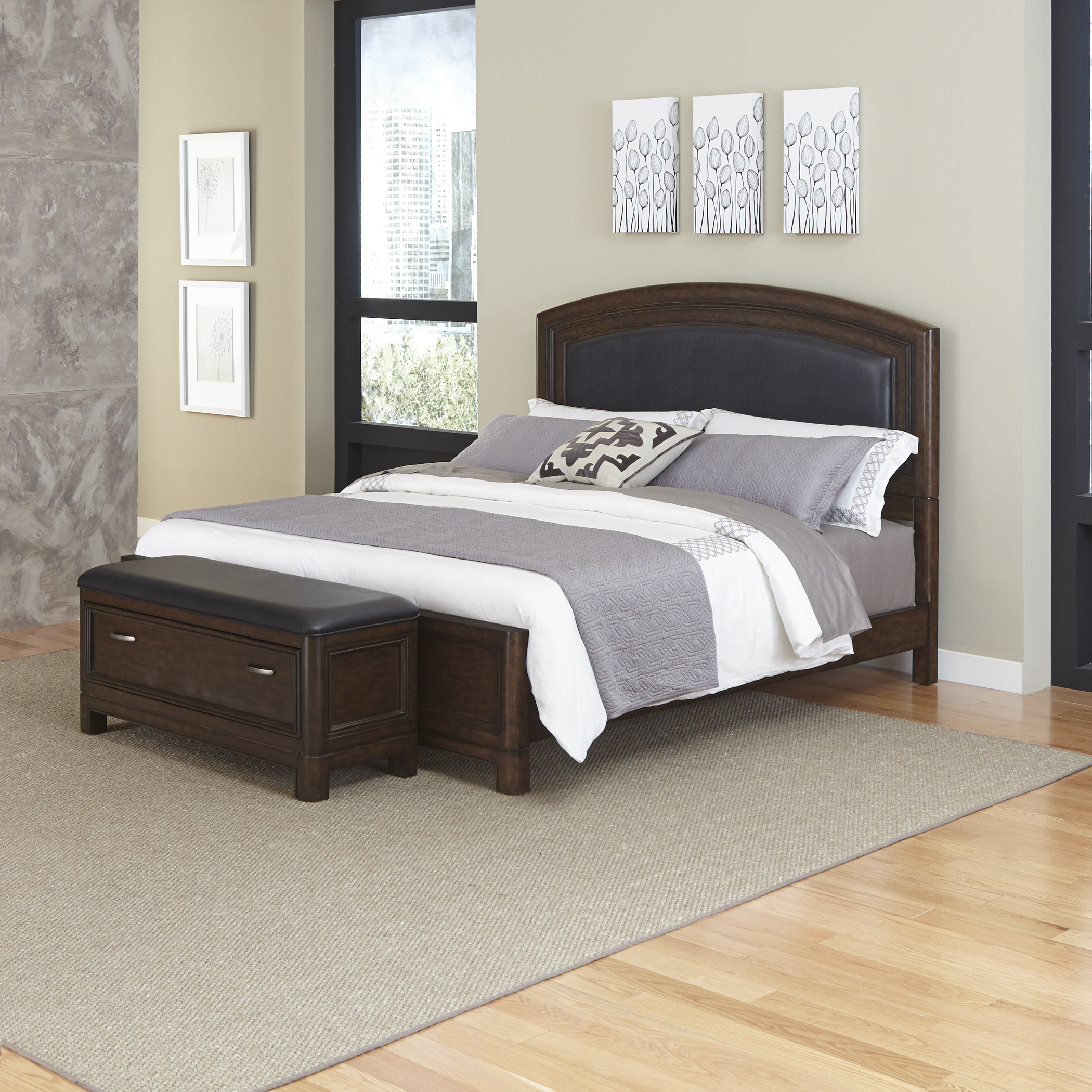 Home Styles Crescent Hill King Leather Upholstered Bed and