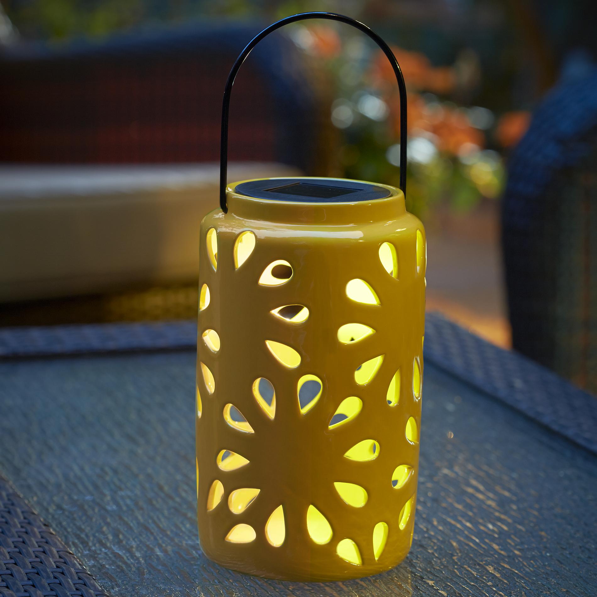 Essential Garden Small Ceramic Lanterns With Solar Light Yellow Outdoor Living Outdoor