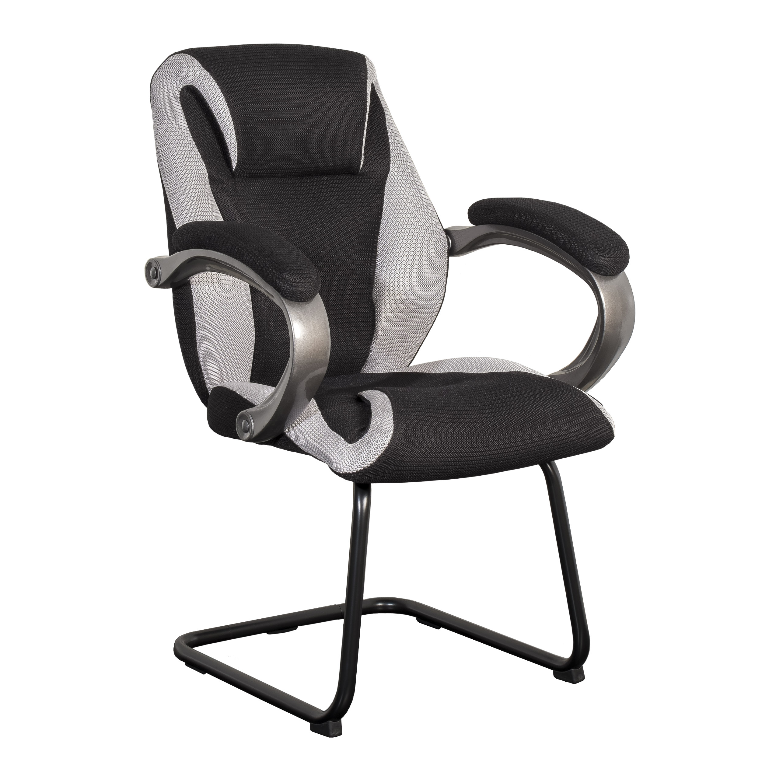 Office Guest Chair Corliving Black And Grey Mesh Fabric Office Guest Chair