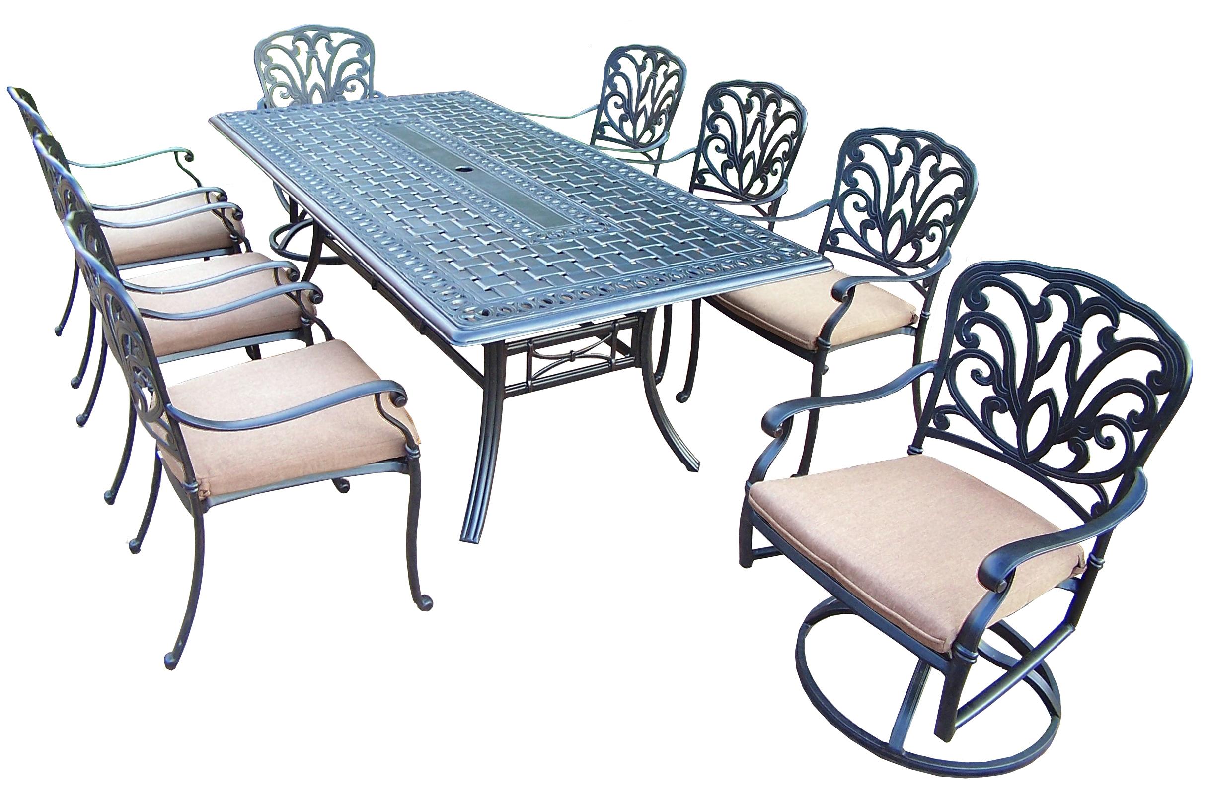 hampton bay swivel patio chairs menards chair cushions oakland living 9pc dining set