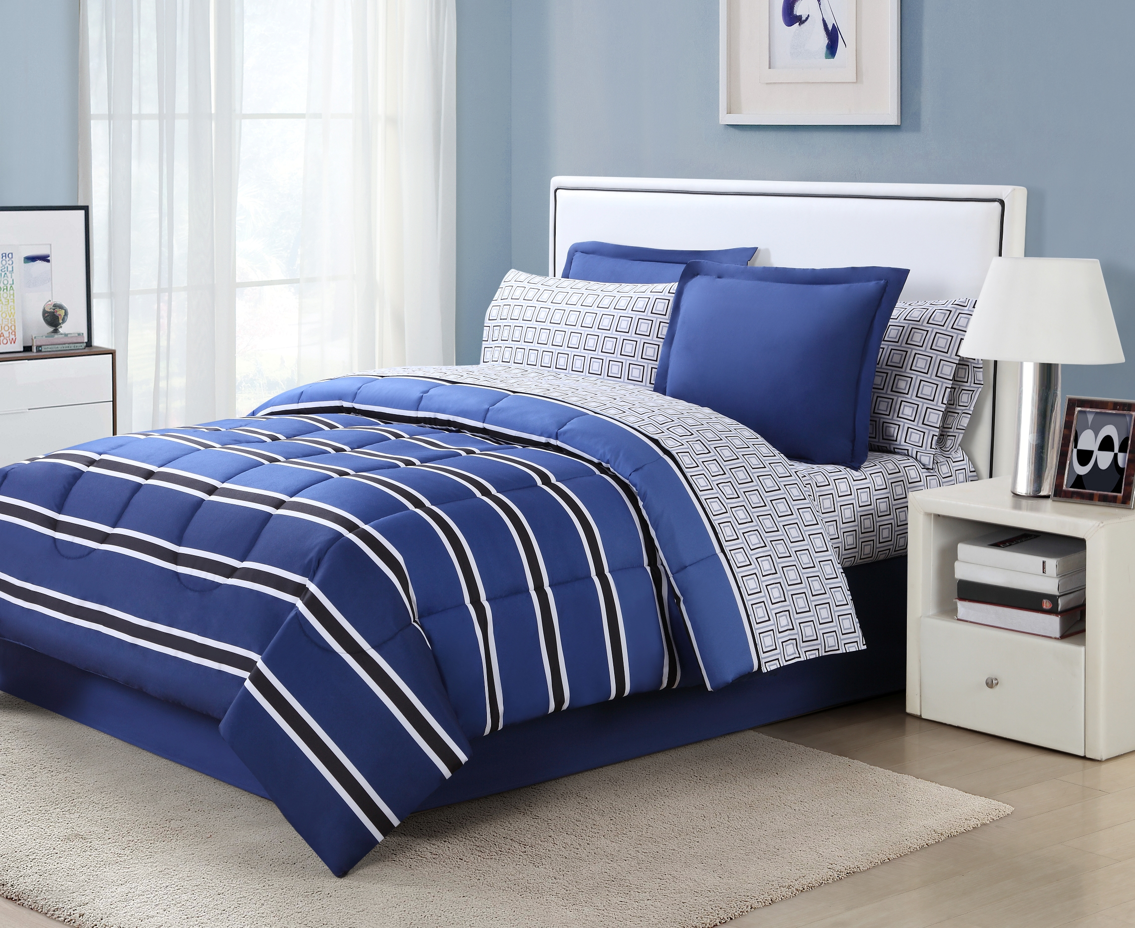 Essential Home 8-piece Complete Bed Set - Rugby Stripe & Bath Bedding