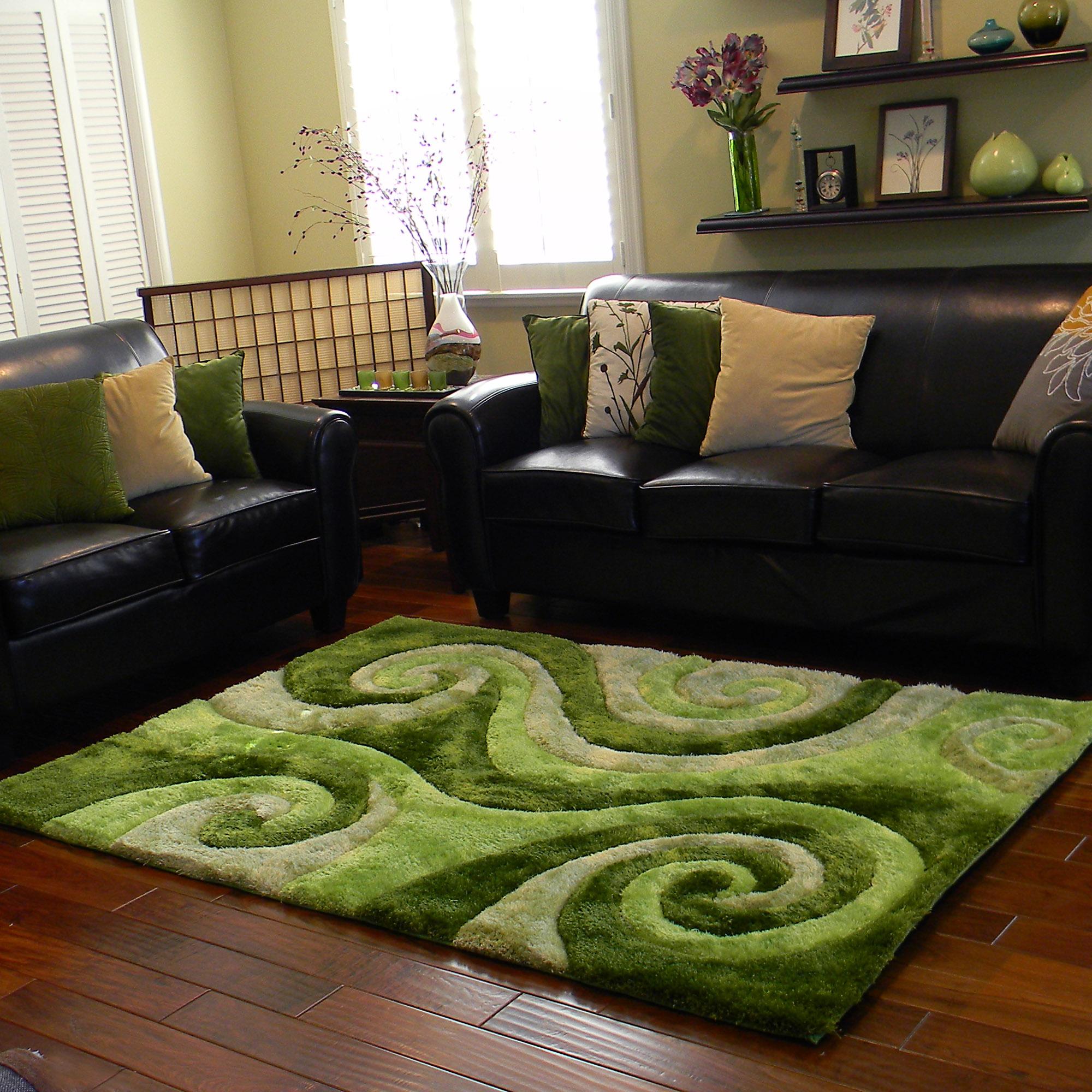 DonnieAnn 3D Shaggy805 Abstract swirl design Green color
