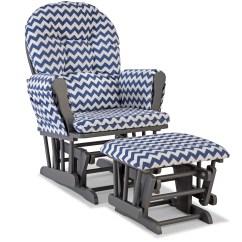 Navy Rocking Chair Covers Vaughan Storkcraft Custom Hoop Glider And Ottoman Gray Chevron