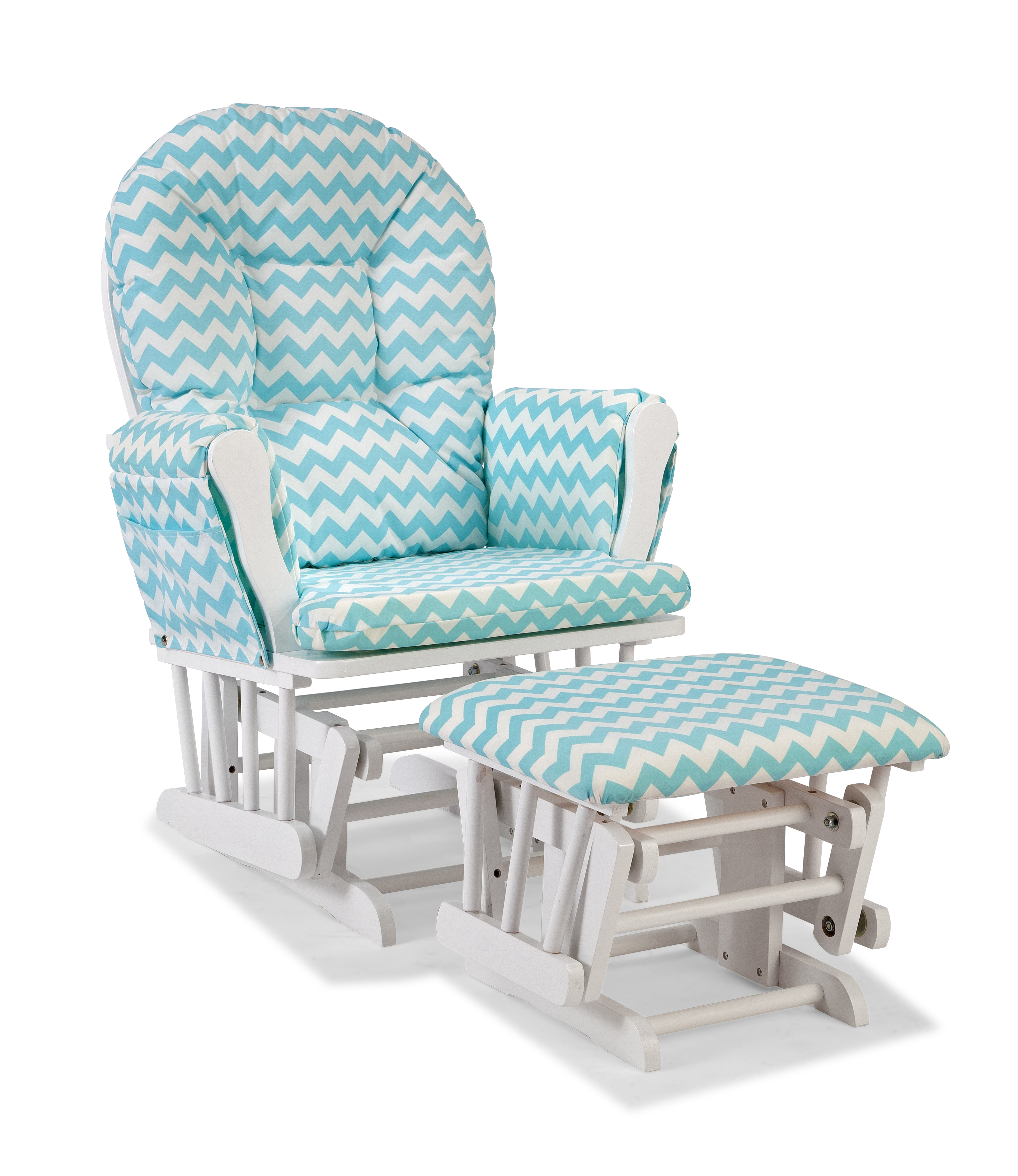 bedroom glider chair wheelchair stand for car storkcraft custom hoop and ottoman white turquoise