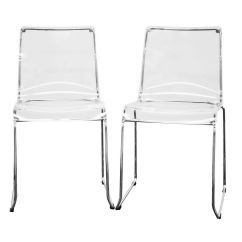 Clear Dining Chair Arm Covers Room Baxton Studio Lino Transparent Acrylic