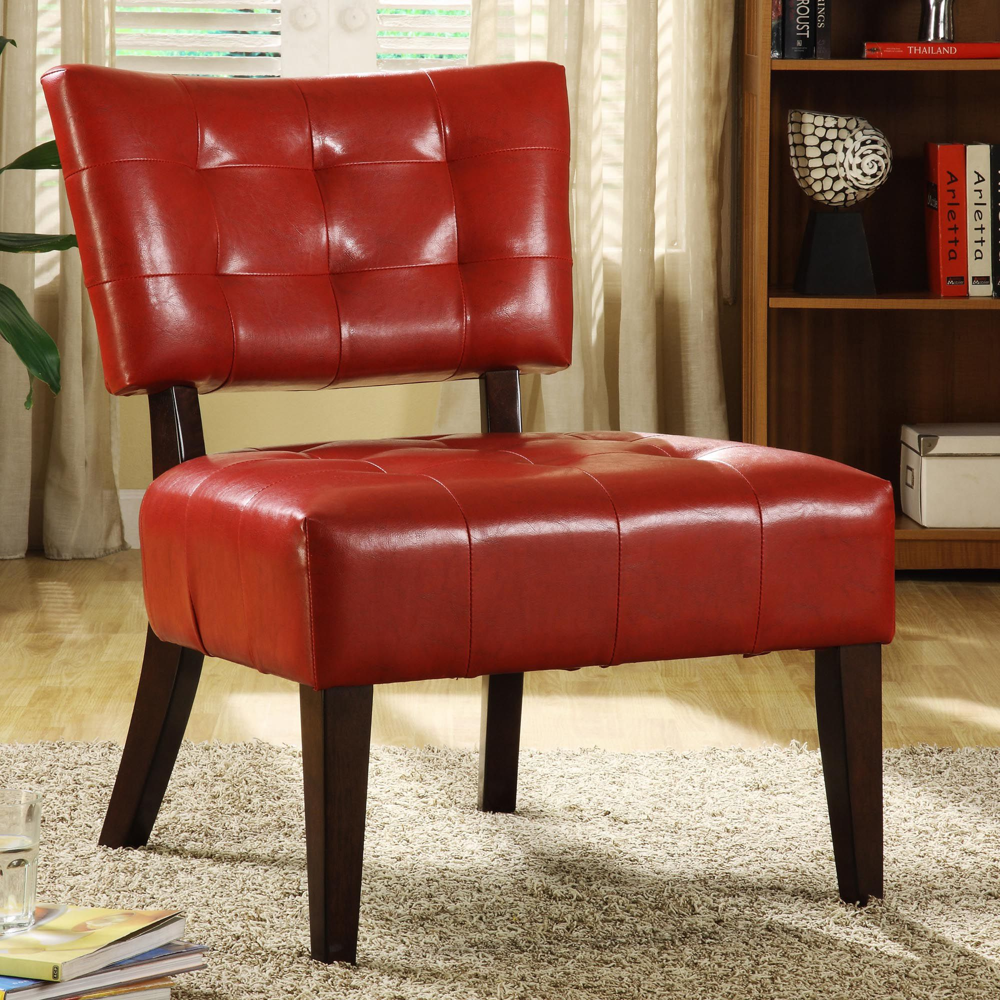 Armless Accent Chairs Oxford Creek Contemporary Faux Leather Armless Occasional