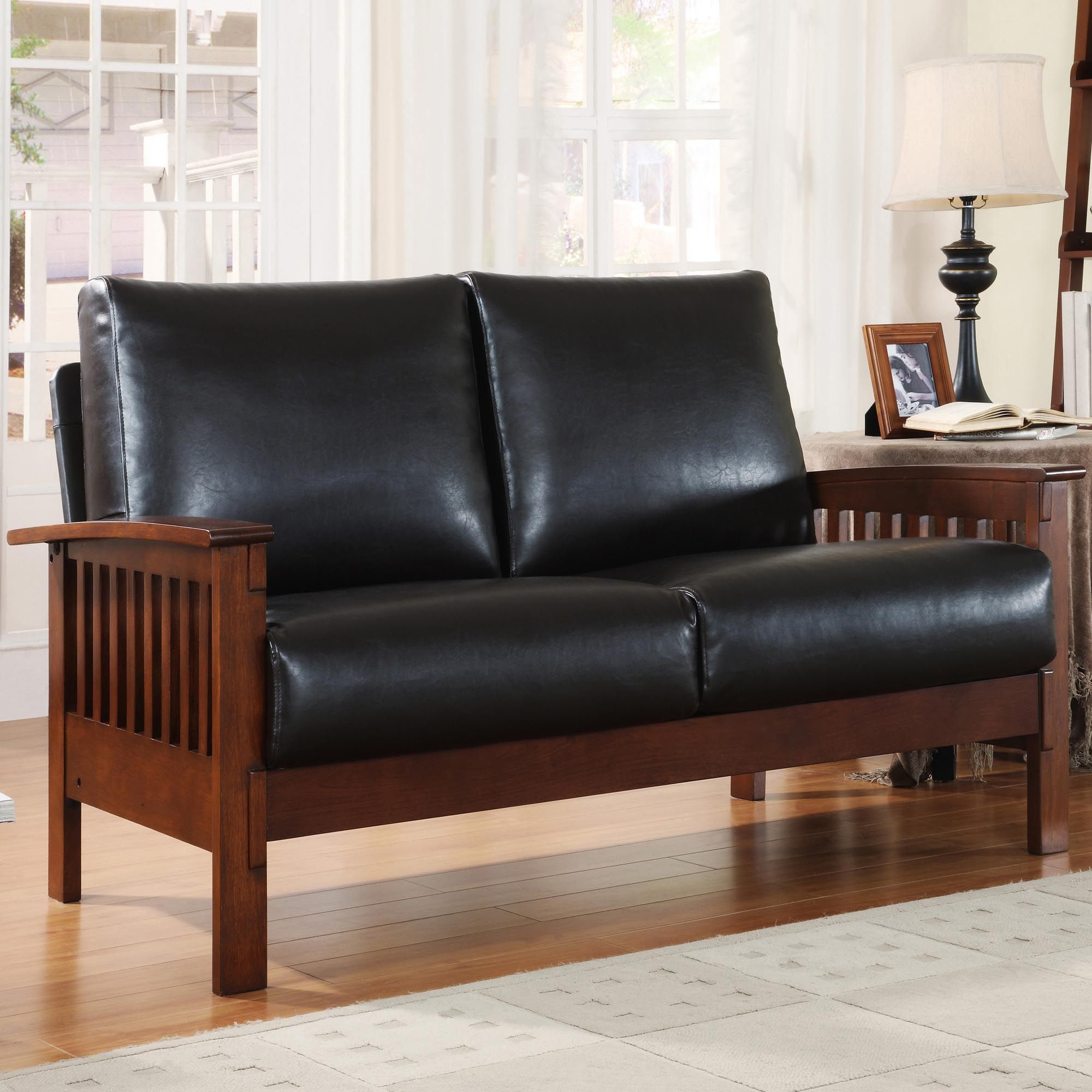 mission brown leather sofa ottomans oxford creek marlin inspired loveseat in