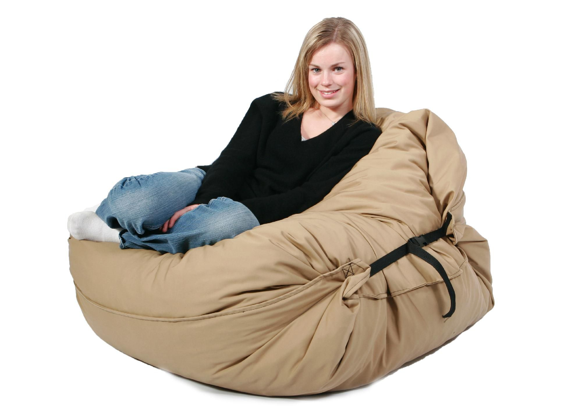 xxl fuf chair brown leather and ottoman comfort research 4 39 large bean bag in black onyx