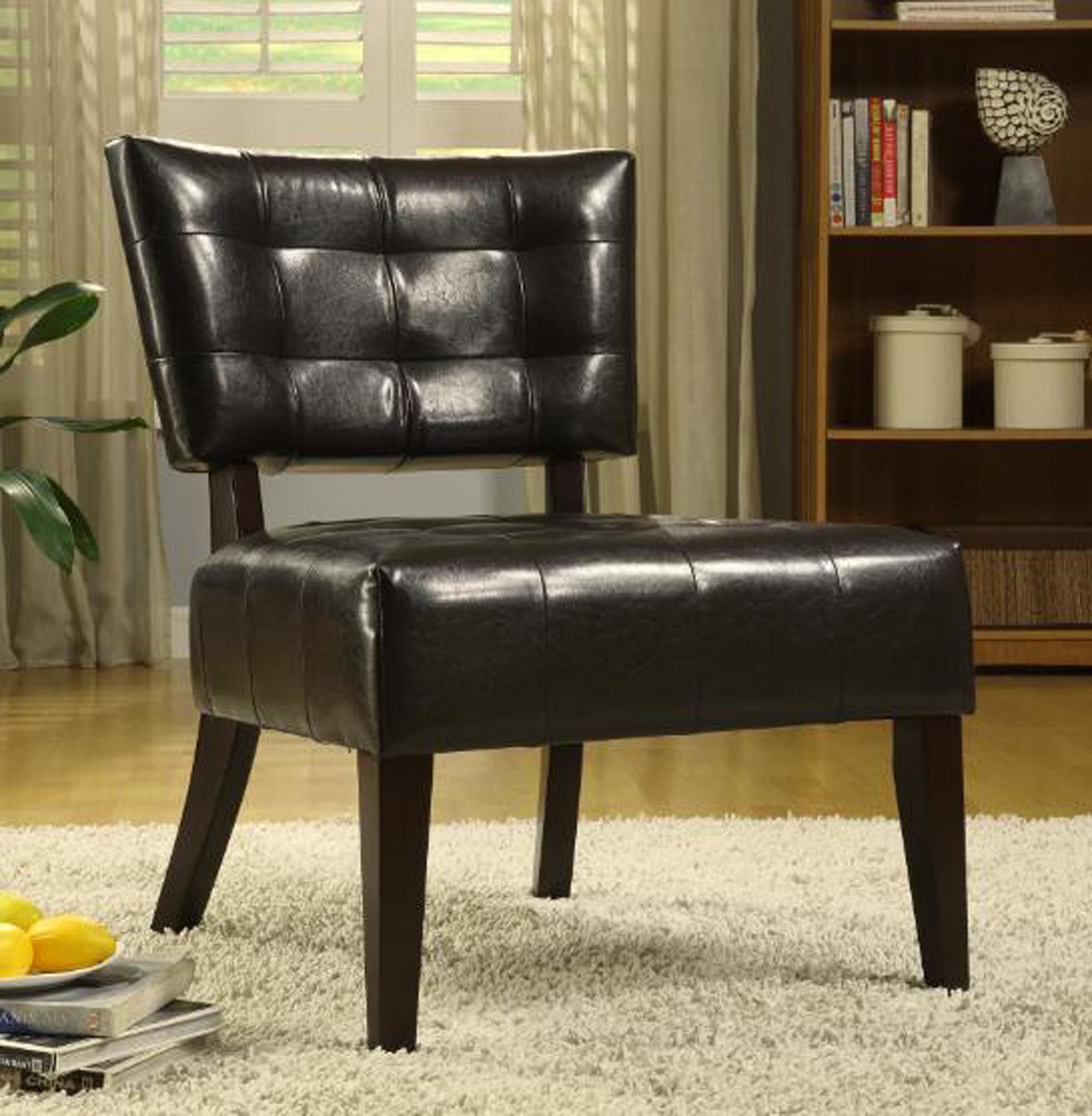 Sears Accent Chairs Oxford Creek Contemporary Armless Accent Chair In Dark Brown Faux