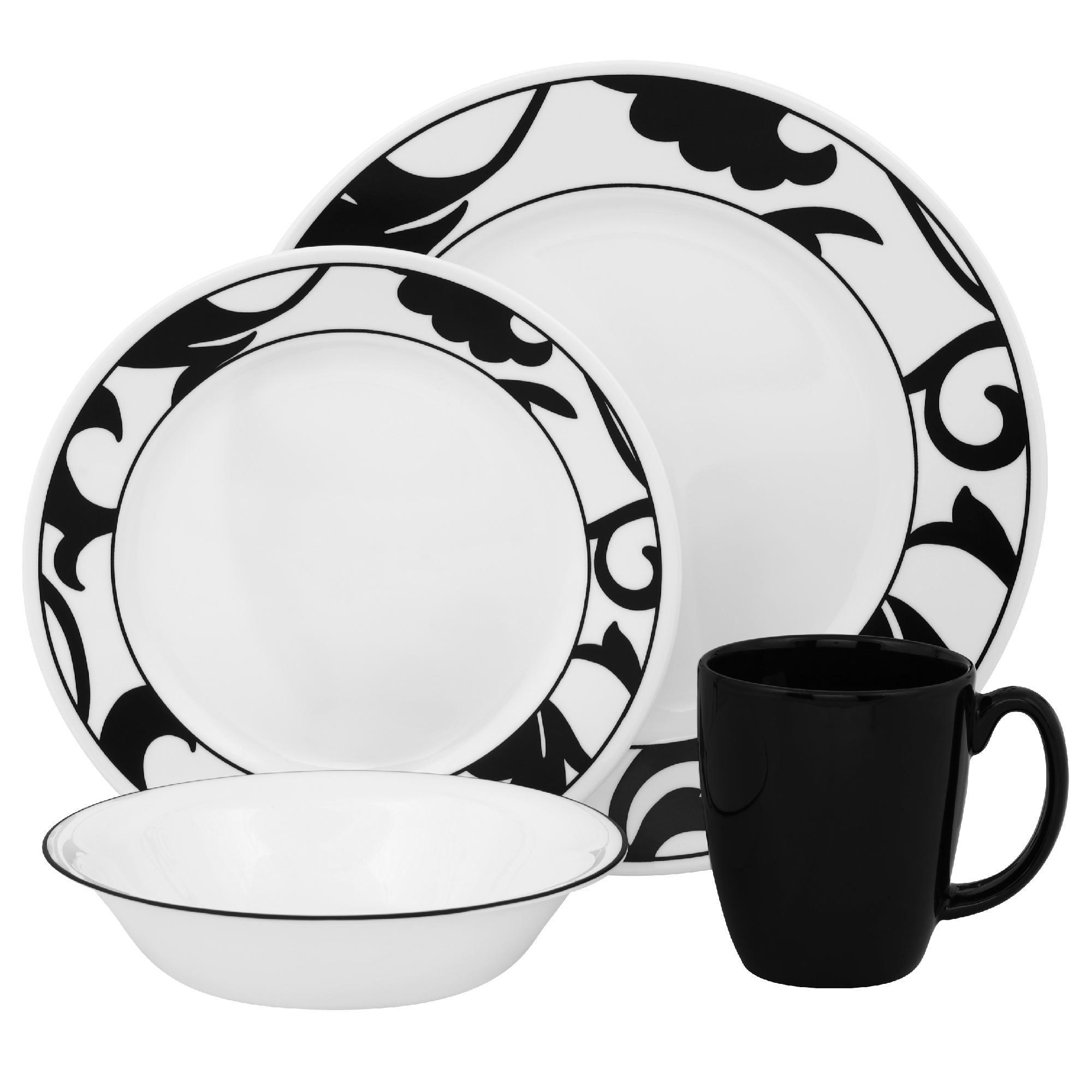 Corelle Vive Noir 16pc Dinnerware Set