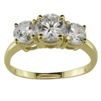 3 Stone Cubic Zirconia Ring in 10K Yellow Gold - Jewelry ...