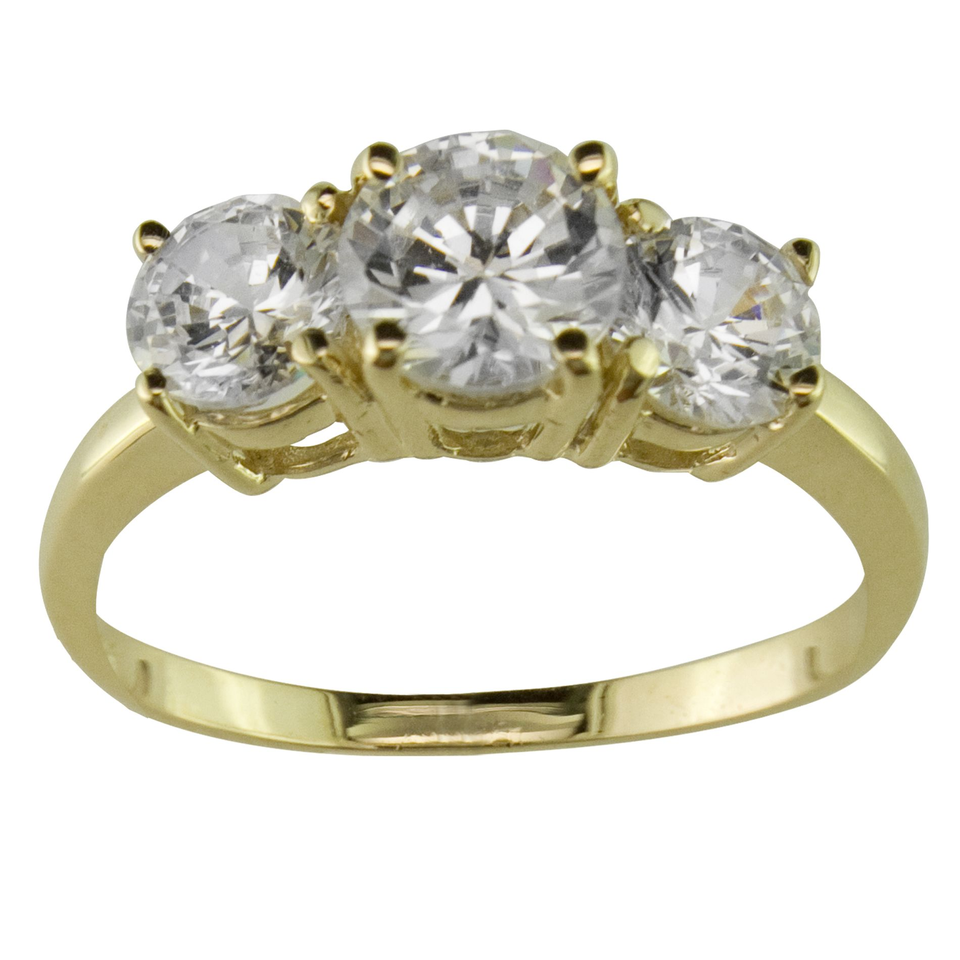 3 Stone Cubic Zirconia Ring In 10K Yellow Gold Jewelry