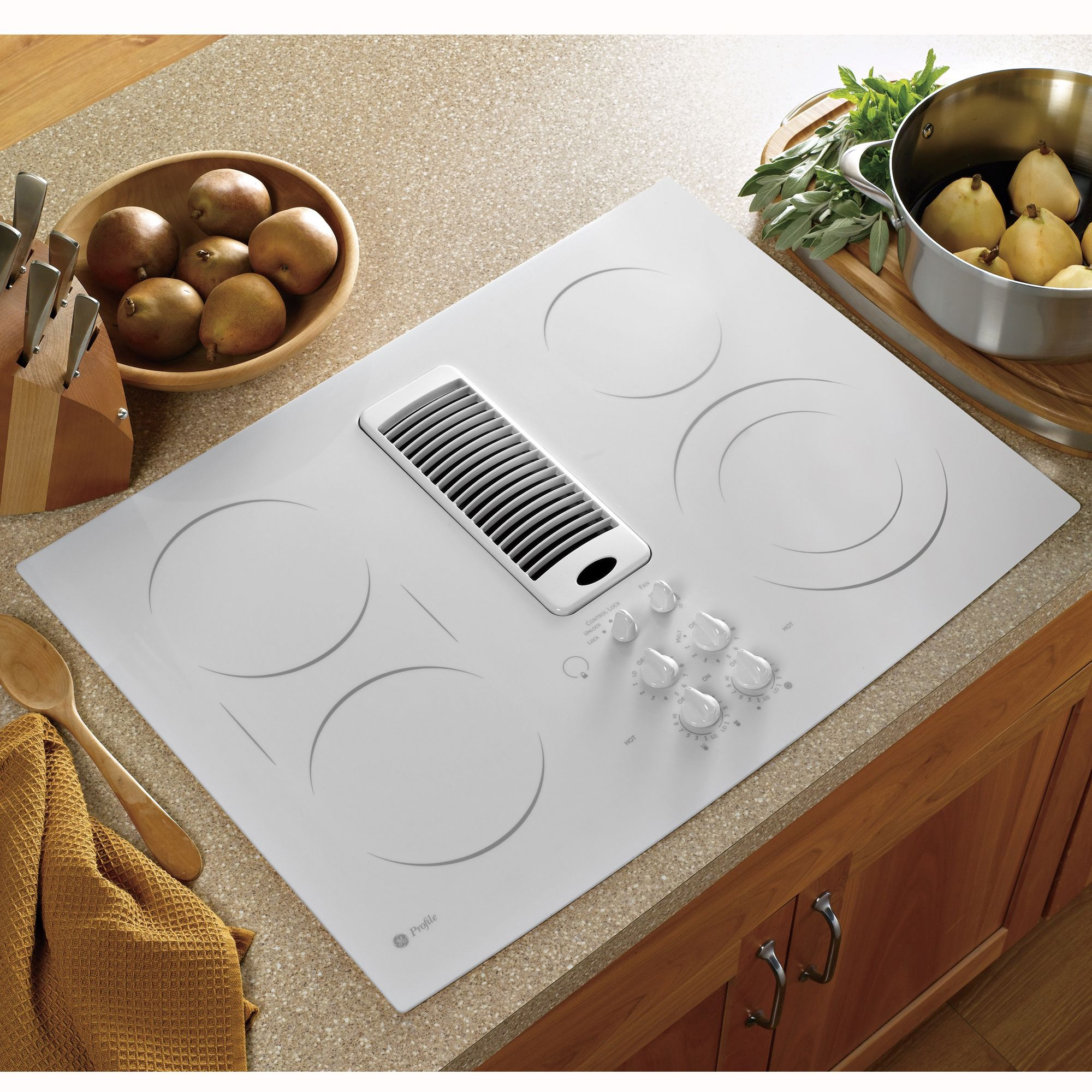 GE Profile Series PP989TNWW 30 Electric Downdraft Cooktop
