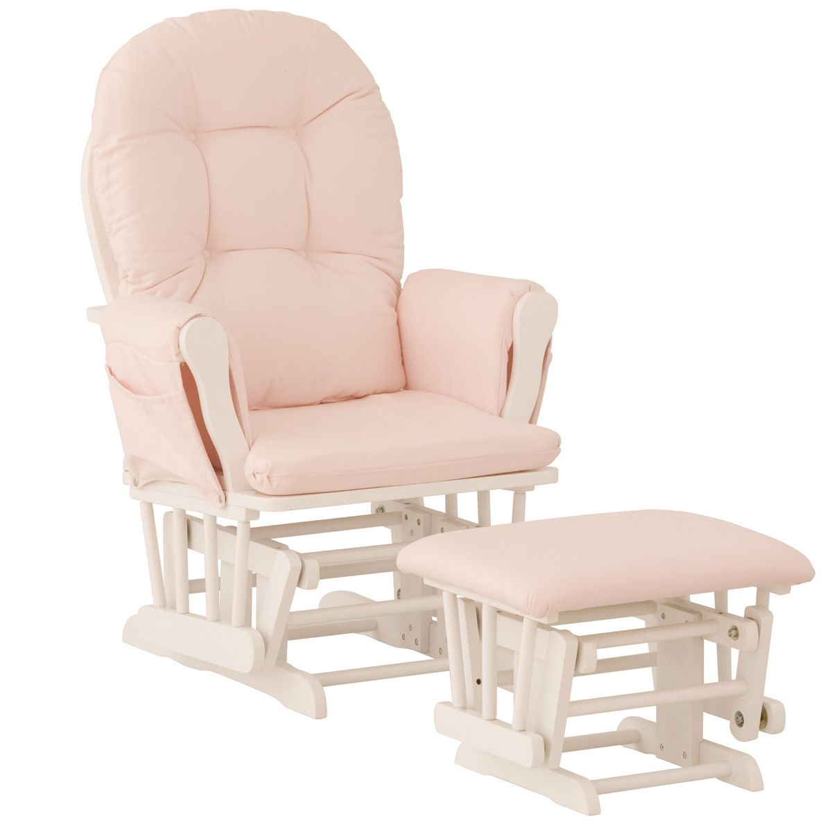 pink nursery rocking chair broyhill bonded leather manager chairs gliders sears storkcraft hoop glider and ottoman white