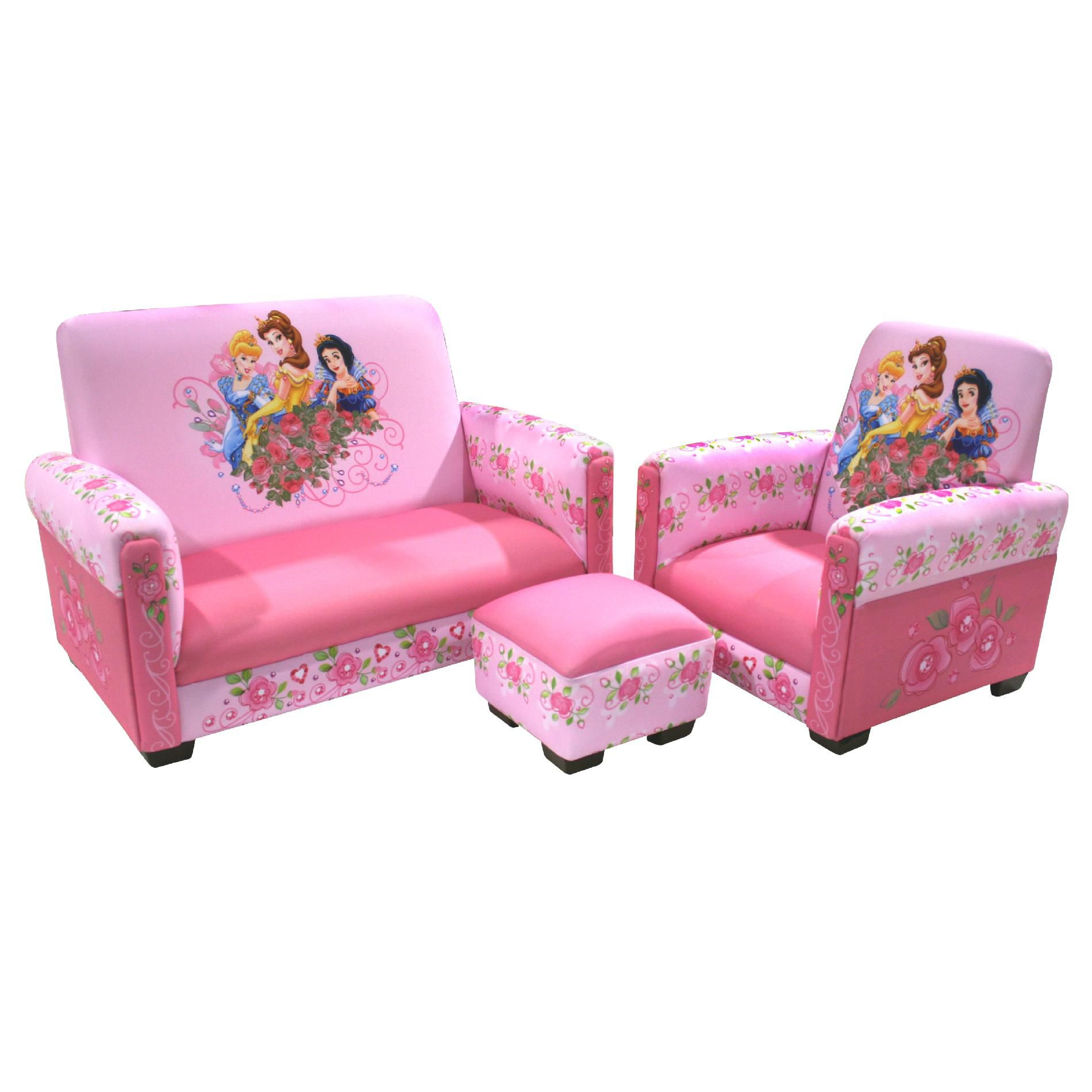 Delta Children Disney Princess Jeweled Gardens Toddler Sofa Chair and Ottoman Set