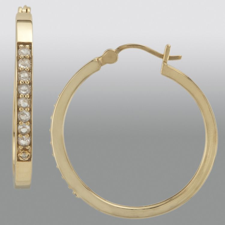 Lab Created White Sapphire and Diamond Accent Hoop