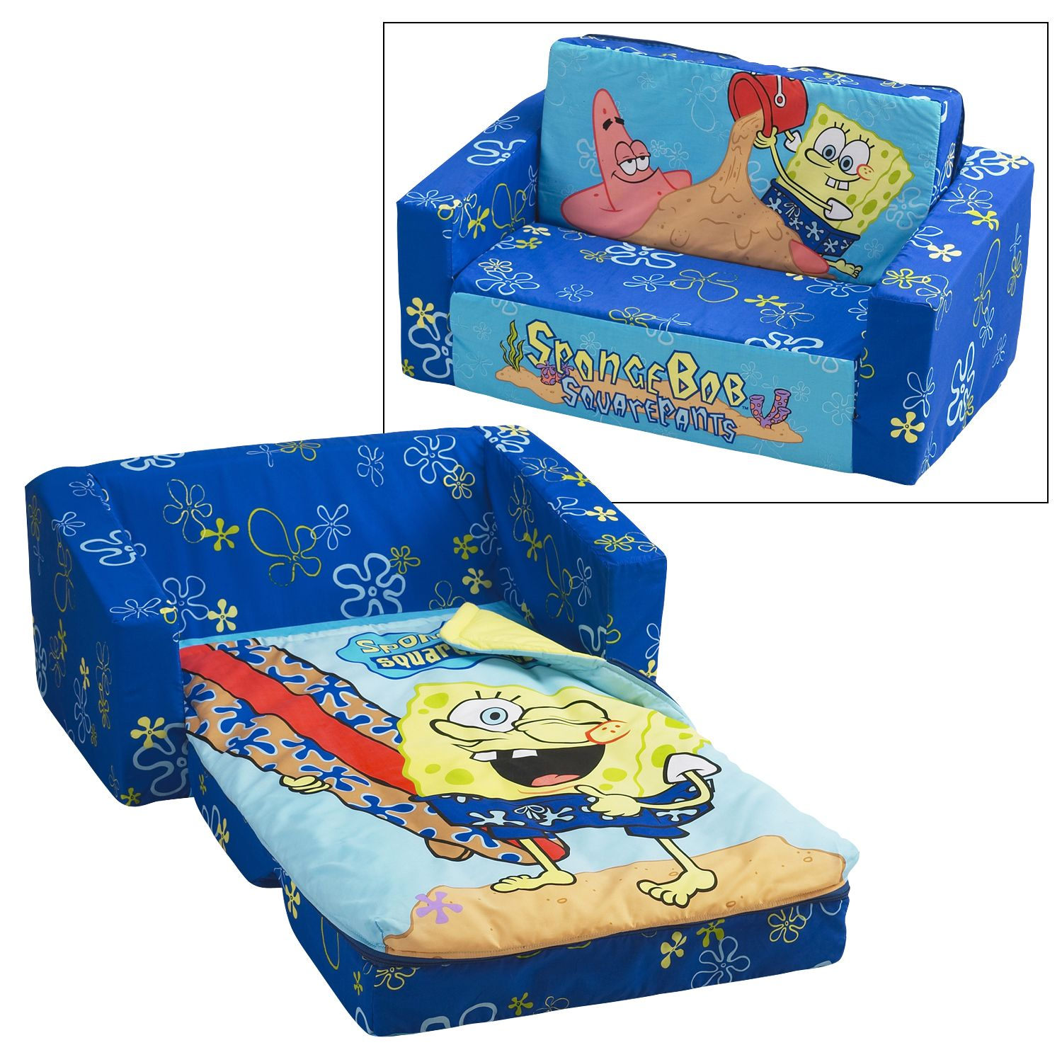 disney princess flip out sofa with slumber bag mia flop storage open spongebob