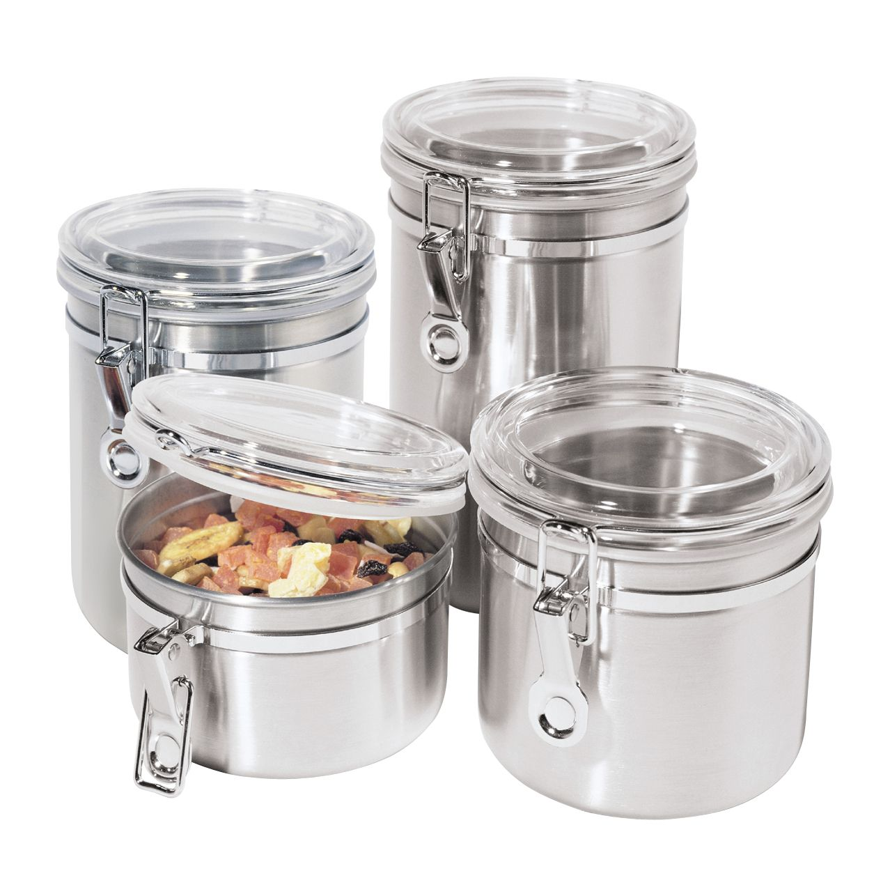 kitchen storage canisters best cabinet ideas oggi 4 pc 18 8 stainless steel canister set shop your