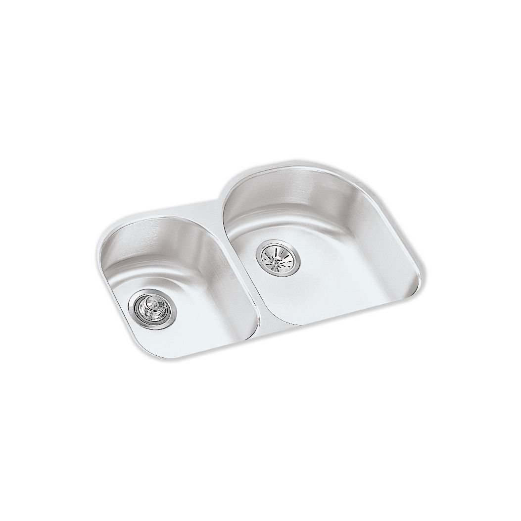 elkay kitchen sinks rooster statue for sears lustertone eluh3119r offset 60 40 double bowl undermount stainless steel sink