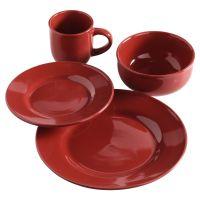 Essential Home Round 16Pc Dinnerware Set- Red
