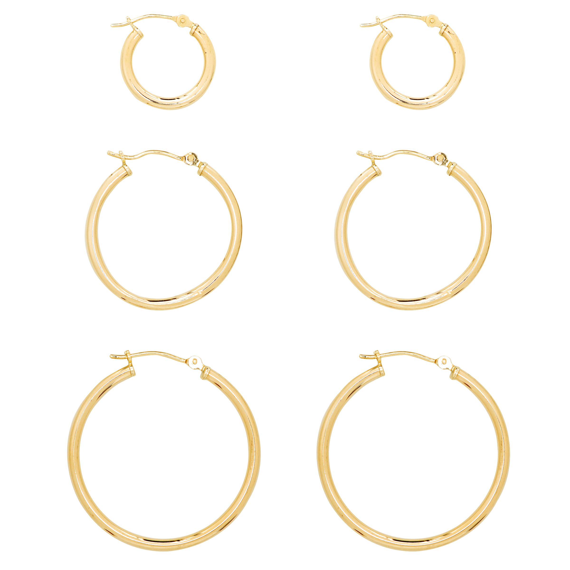 3 Pair Hoop Earring Set. 10K Yellow Gold